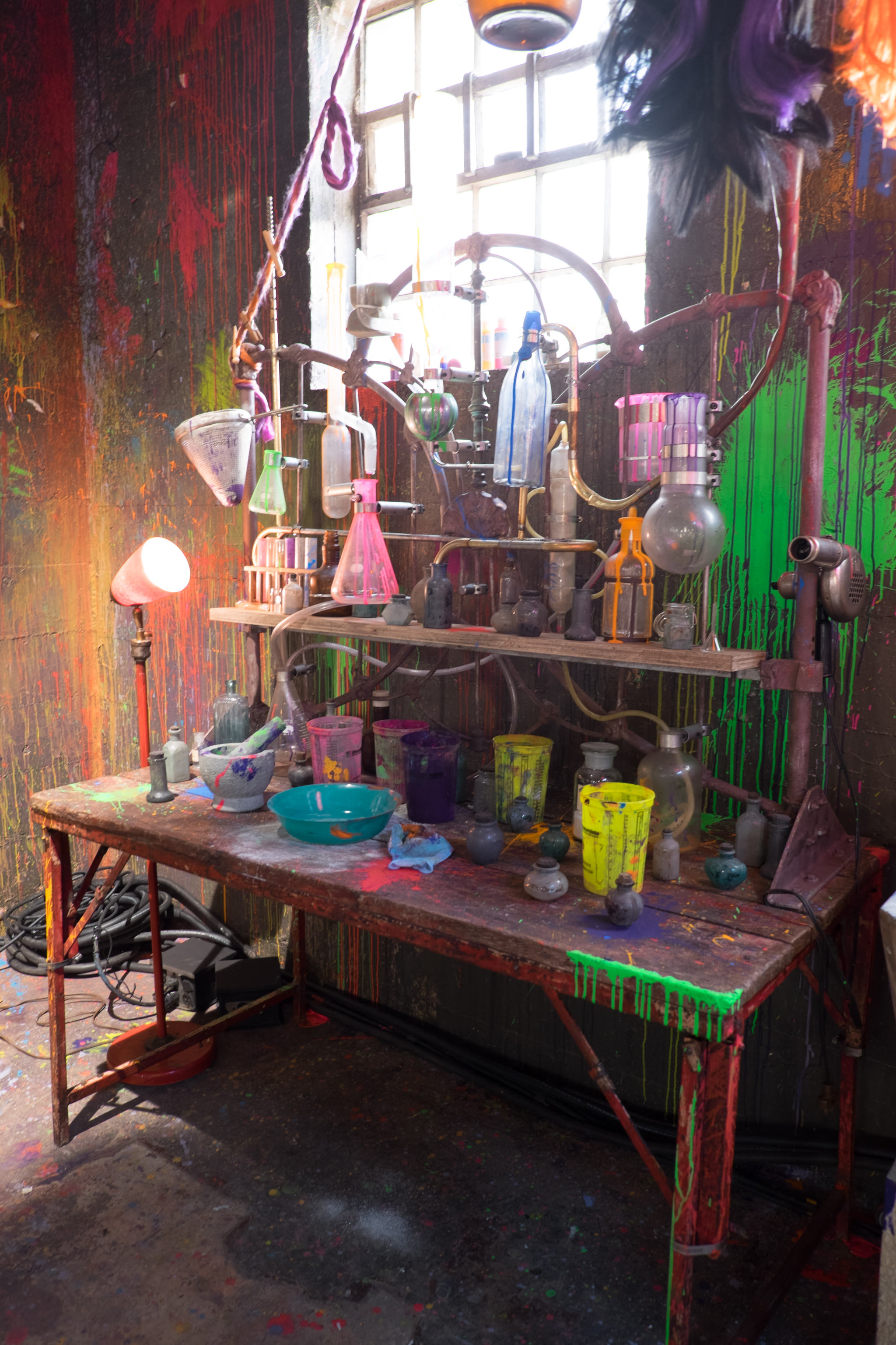 A detail of the dry chemistry set up in Drizella's Curl Up and Dye on the Isle of the Lost.