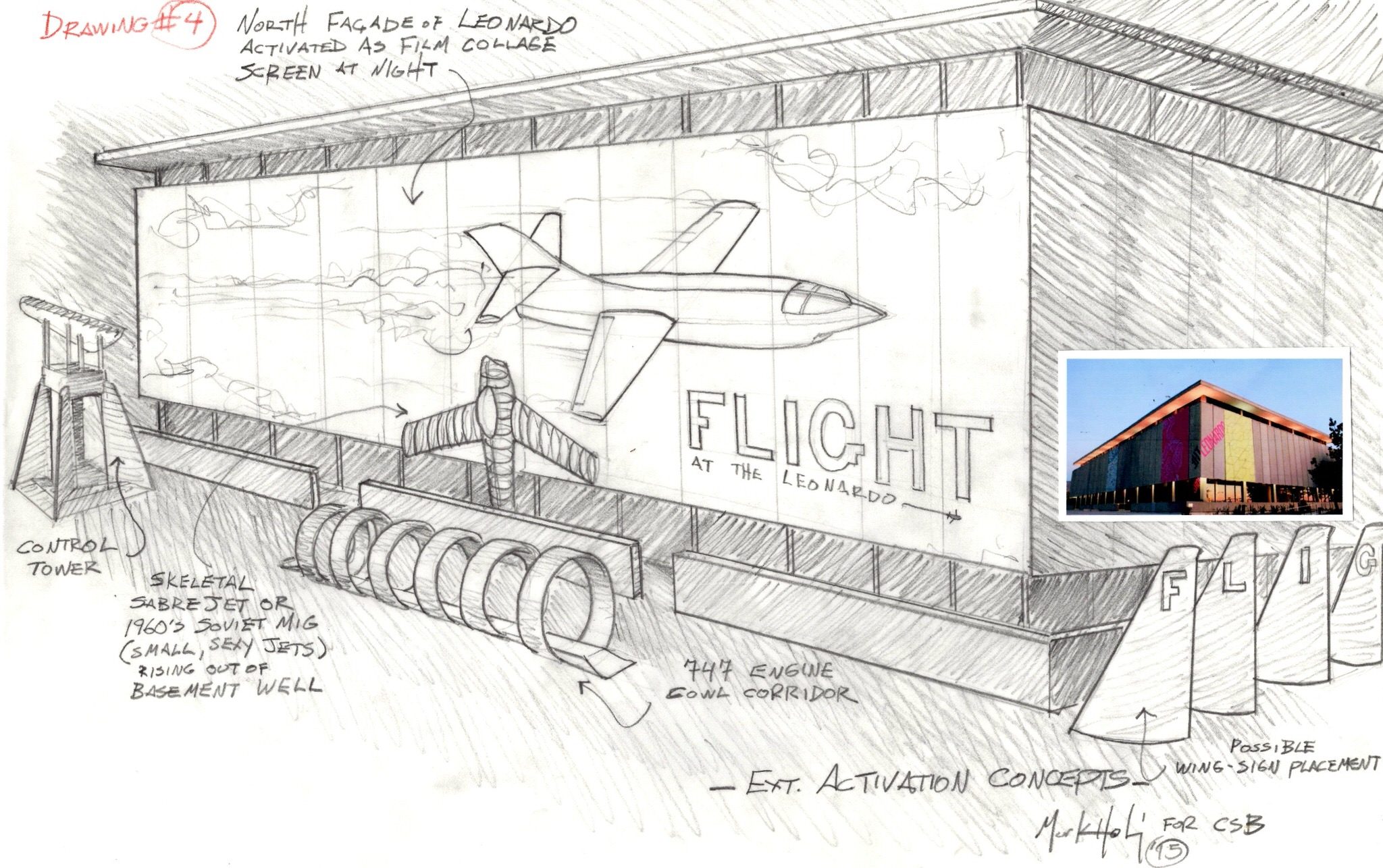 This is the first drawing in a deck of concept sketches I did for the FLIGHT exhibition at the Leonardo in Salt Lake City. This was a blue-sky proposal for the exterior of the building.