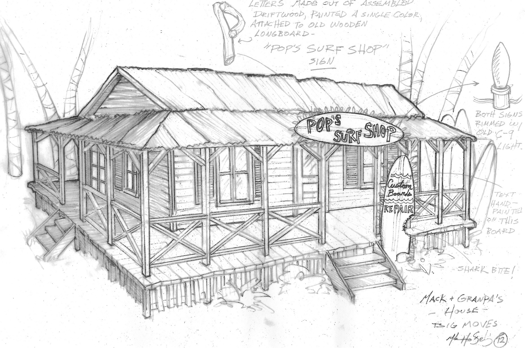 Here's my first sketch Pop's Surf Shop for Teen Beach Movie.