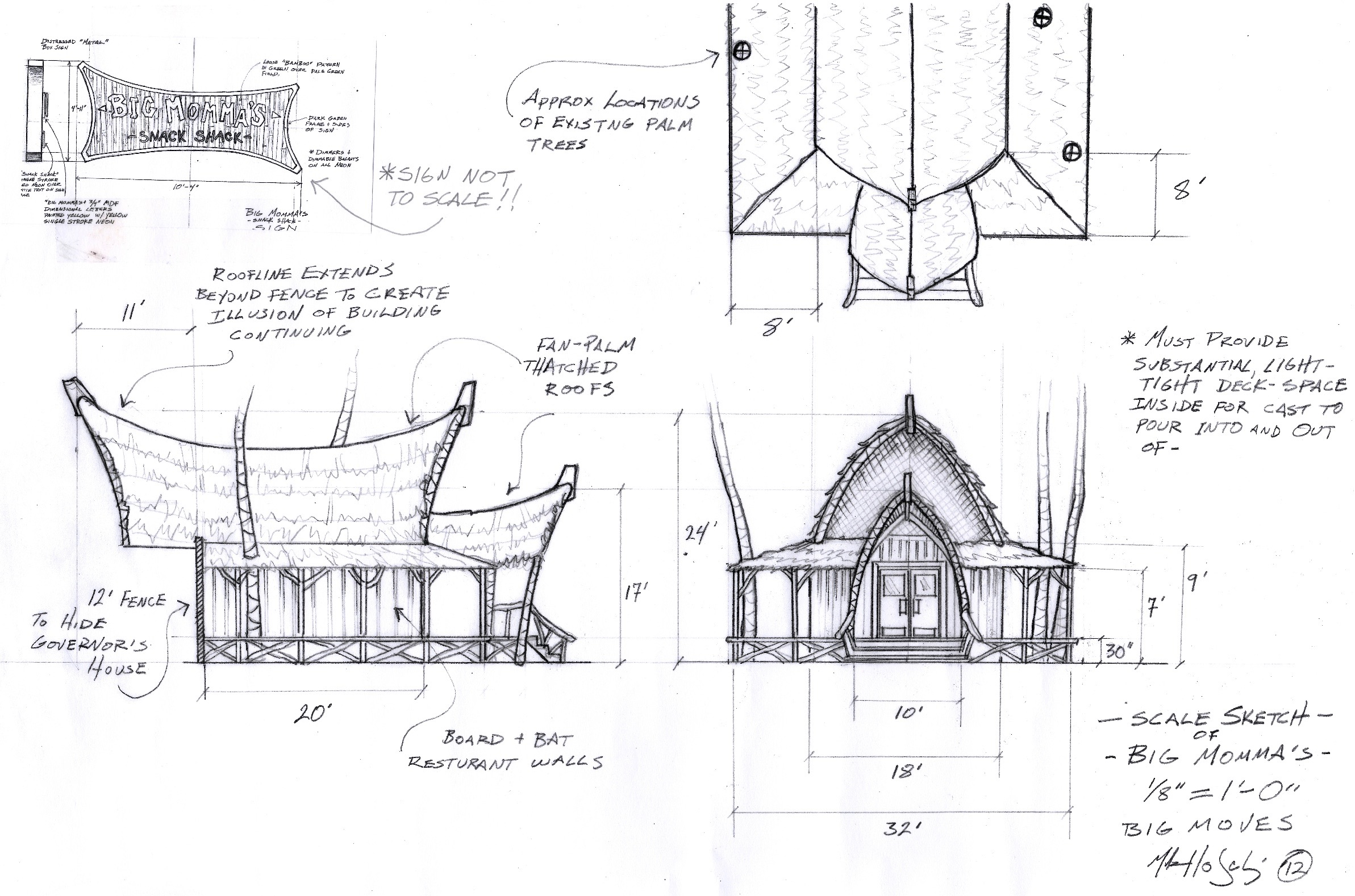 In Teen Beach Movie, the plot of the film within the film is a turf war between comedic gangs of bikers and surfers for control of Big Momma's snack shack. Here was my first sketch/draft of the Polynesian inspired restaurant.