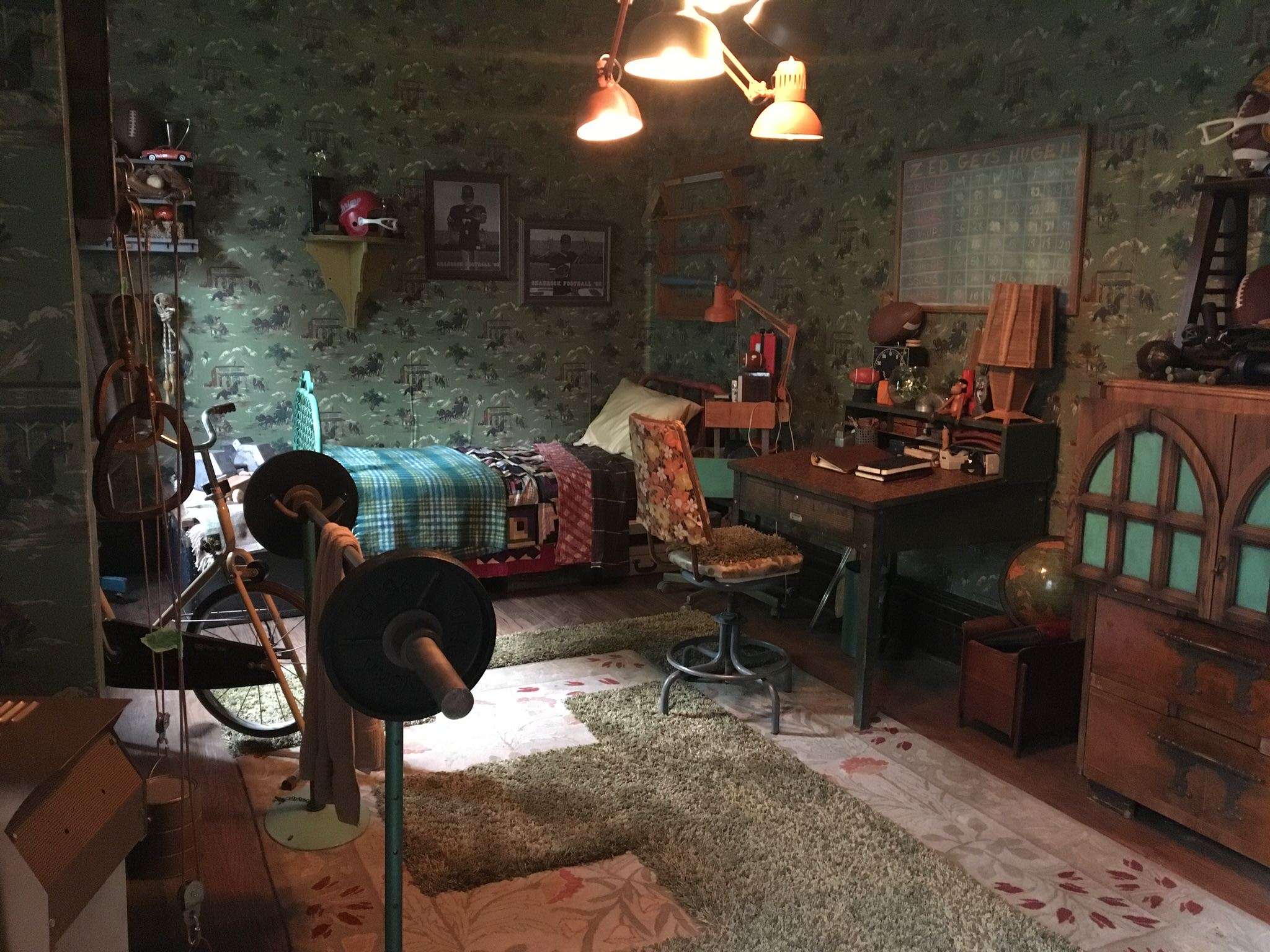 Zed's (Milo Manheim) room. Zed's dad Zevon (Tony Nappo) has done his best to make life as normal as possible for his kids in this human/zombie apartheid. Their home speaks to the thrift and genius of their kind.