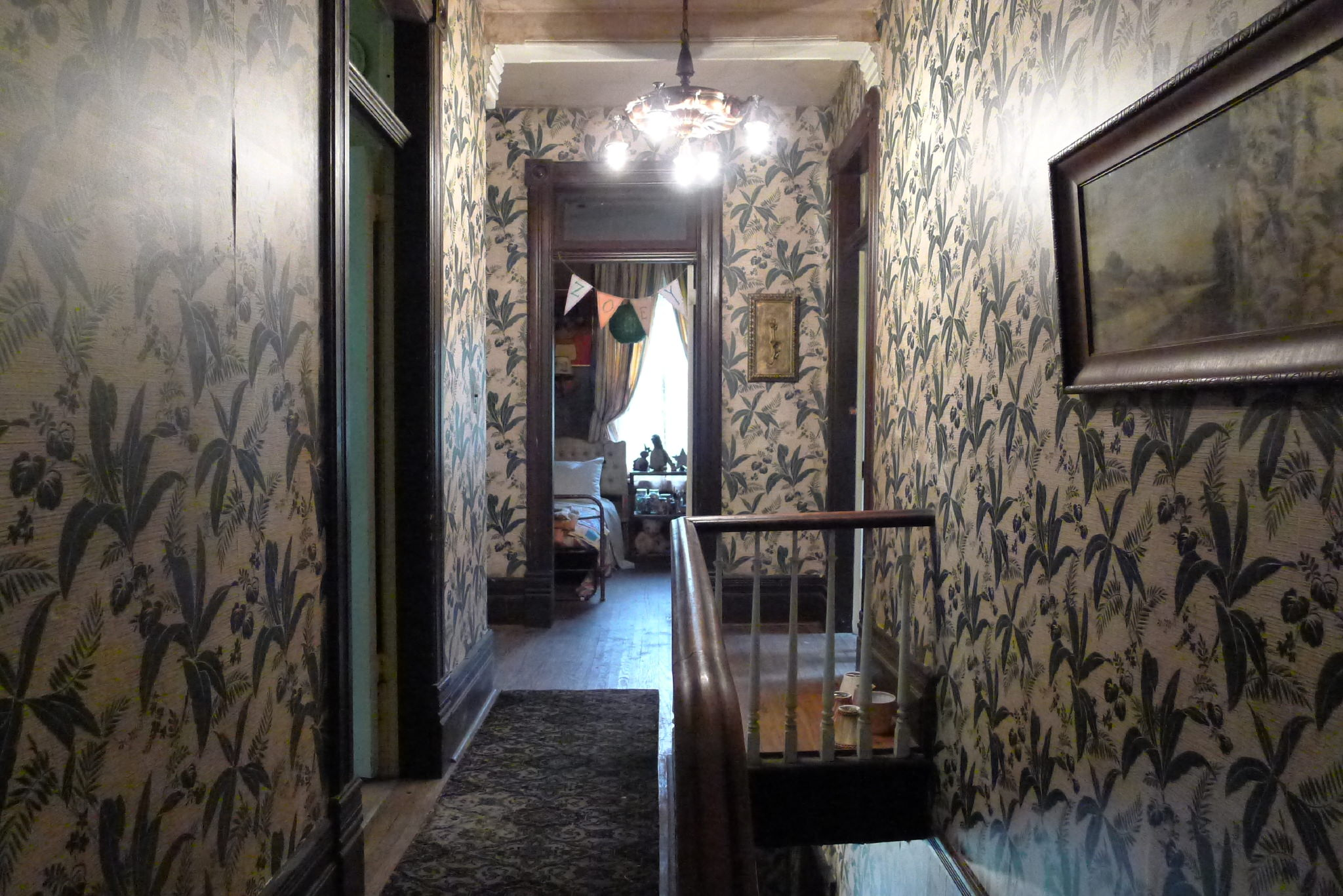 The weird and wonderful upstairs hallway in Zed's (Milo Manheim) Zombietown hovel.