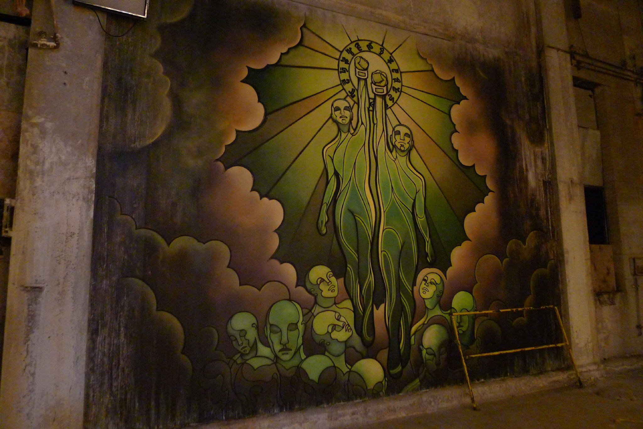 I was very interested in exploring the mythos and identity of the zombies. We determined they were proud of who they are while acknowledging their tumultuous beginnings. So we created a Zombie social realism that celebrated their story. I worked with artist Aurora Kruk to realize this idea. This mural celebrates the zombie renaissance.