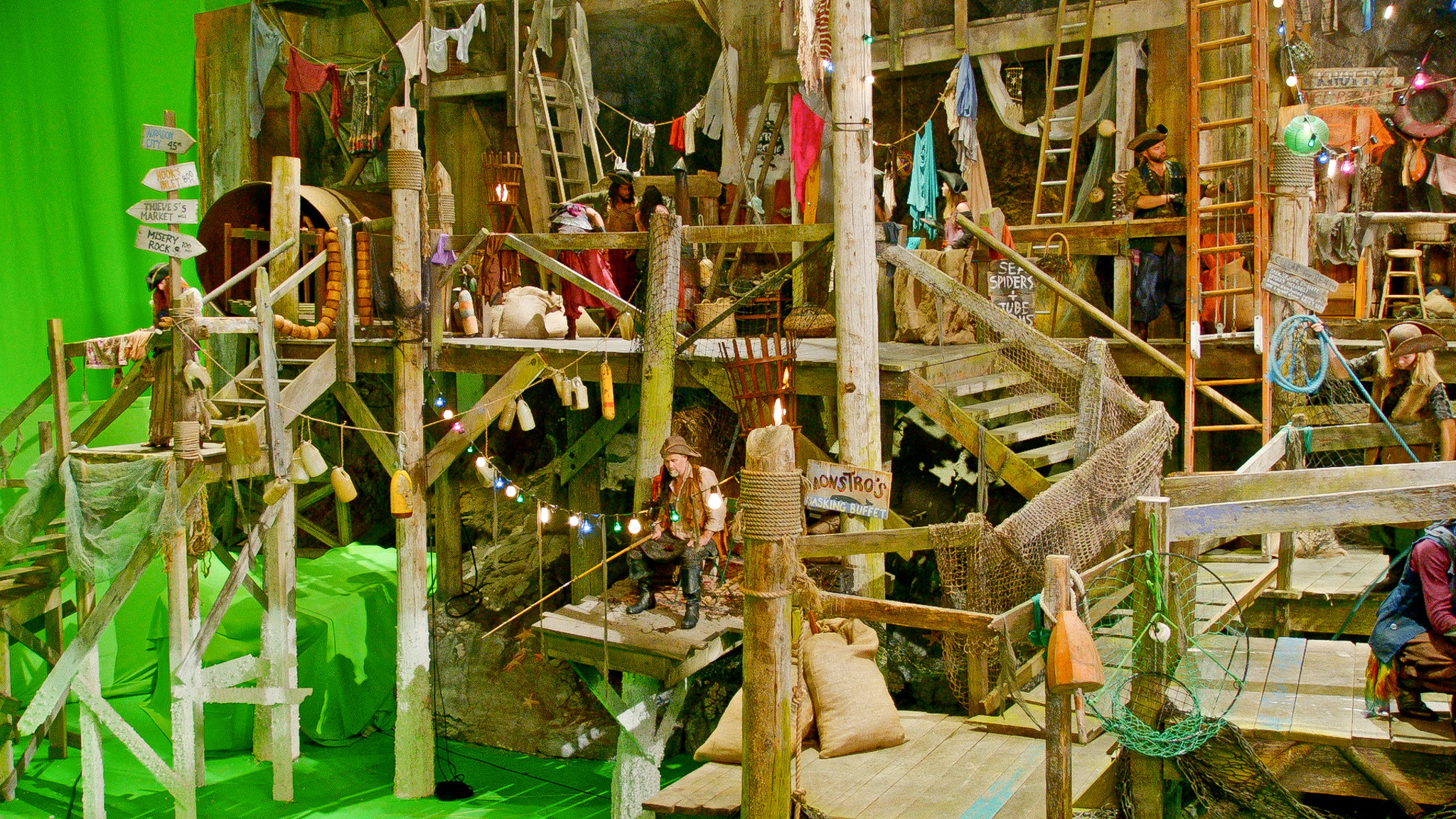 Another view of the rotten dockside set on the Isle of the Lost.