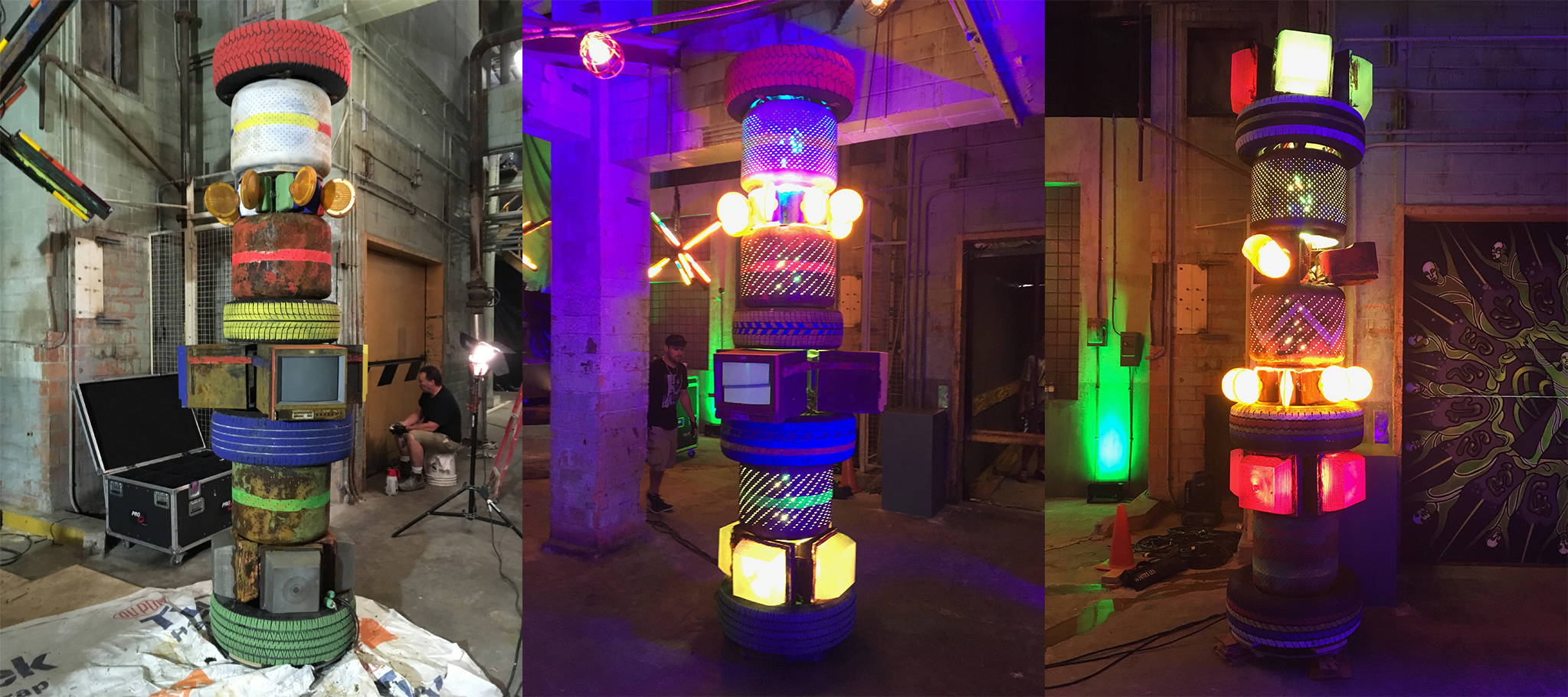 "We constructed these ""totem poles"" out of tires, washing machine drums, flasher barricade lights, old surveillance TVs etc. Like all the other zombie-style lights they had a huge range of light options built in."