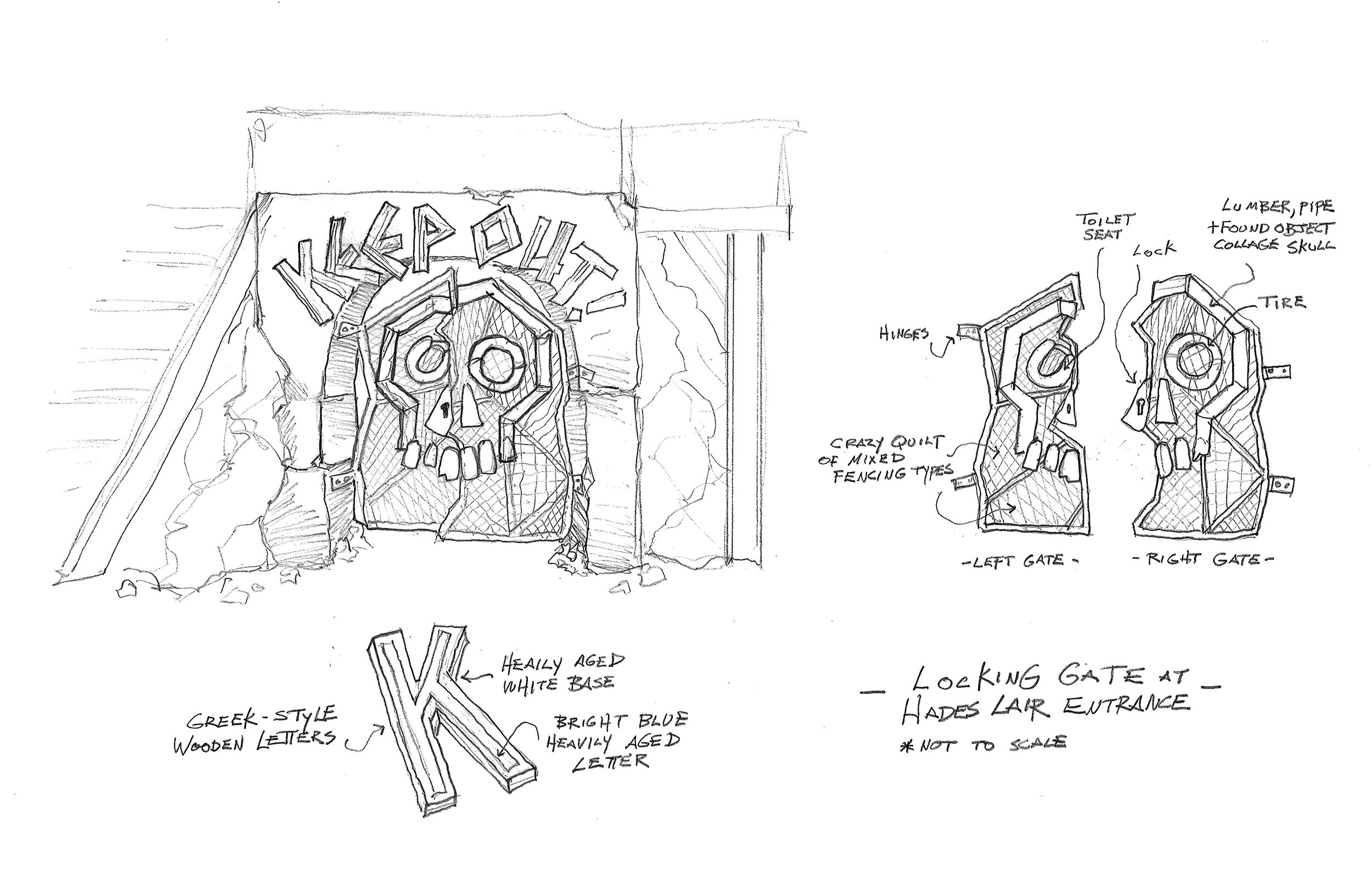 This is my preliminary sketch for the entrance to mighty Hades underground lair on the Isle of the Lost in Descendants 3. The imprisoned Greek god wishes to be left very much alone, so I wanted his ratty gate to reflect that.