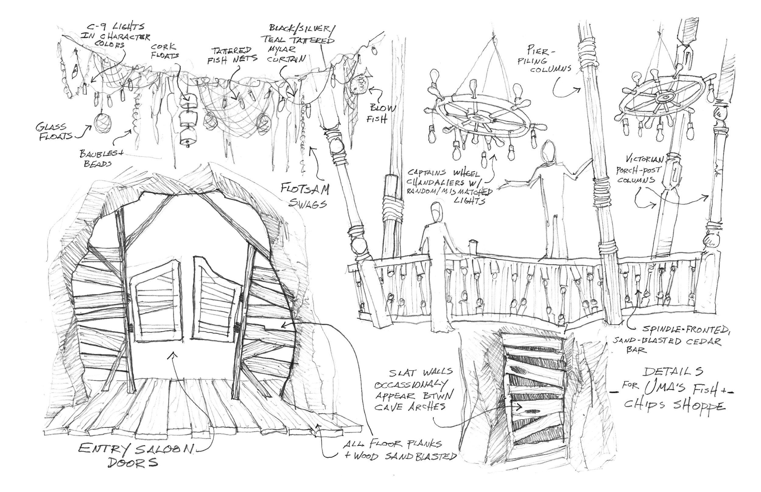 On Disney's Descendants 2, the Mighty sea witch Ursula has been reduced to selling fish and chips in a dank tidal cave. This is a sketch of the various furnishings in her grim restaurant.