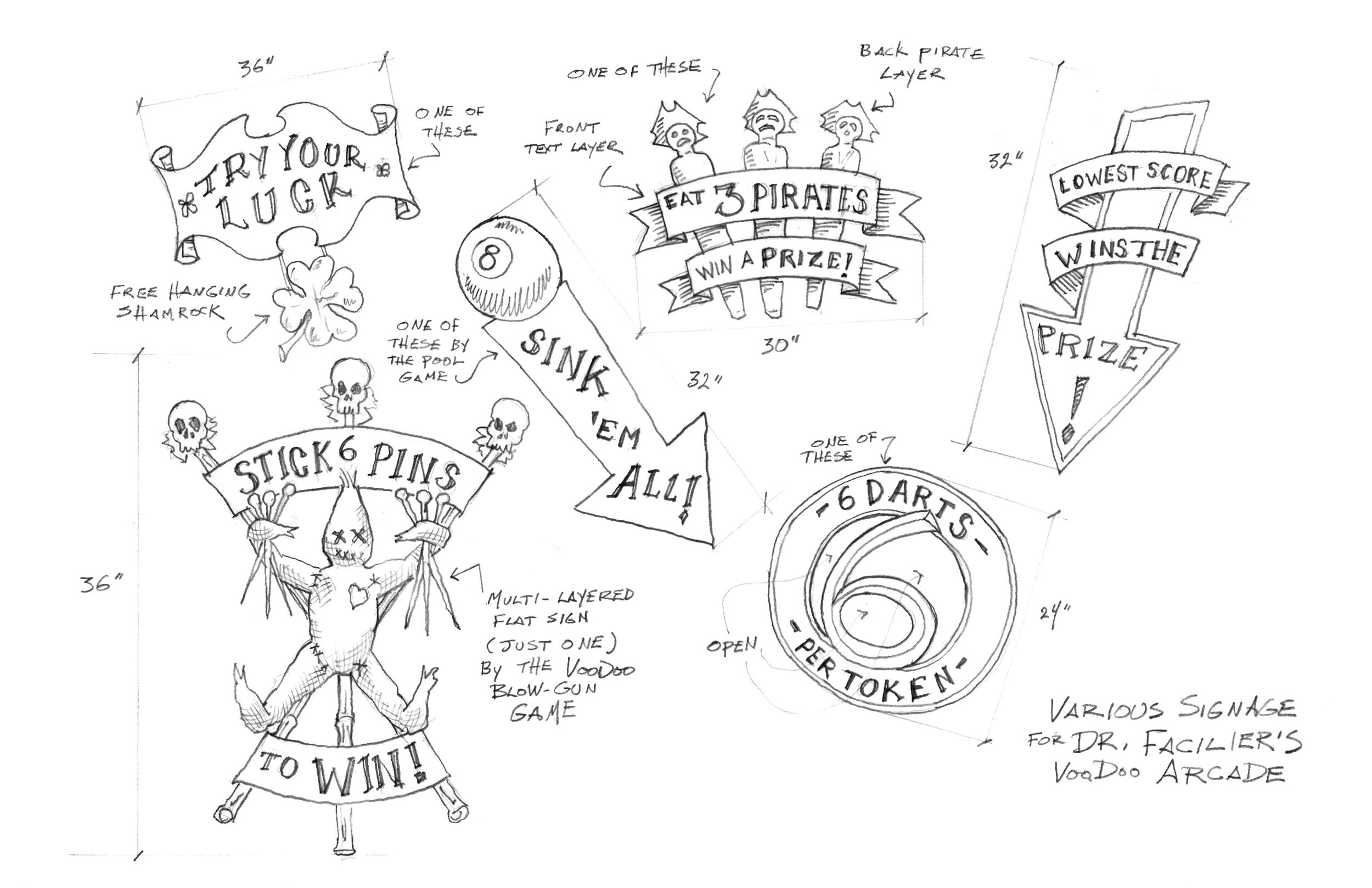 A sketch of various signs for Dr. Faciler's Voodoo arcade on the Isle of the Lost for Disney's Descendants 3.