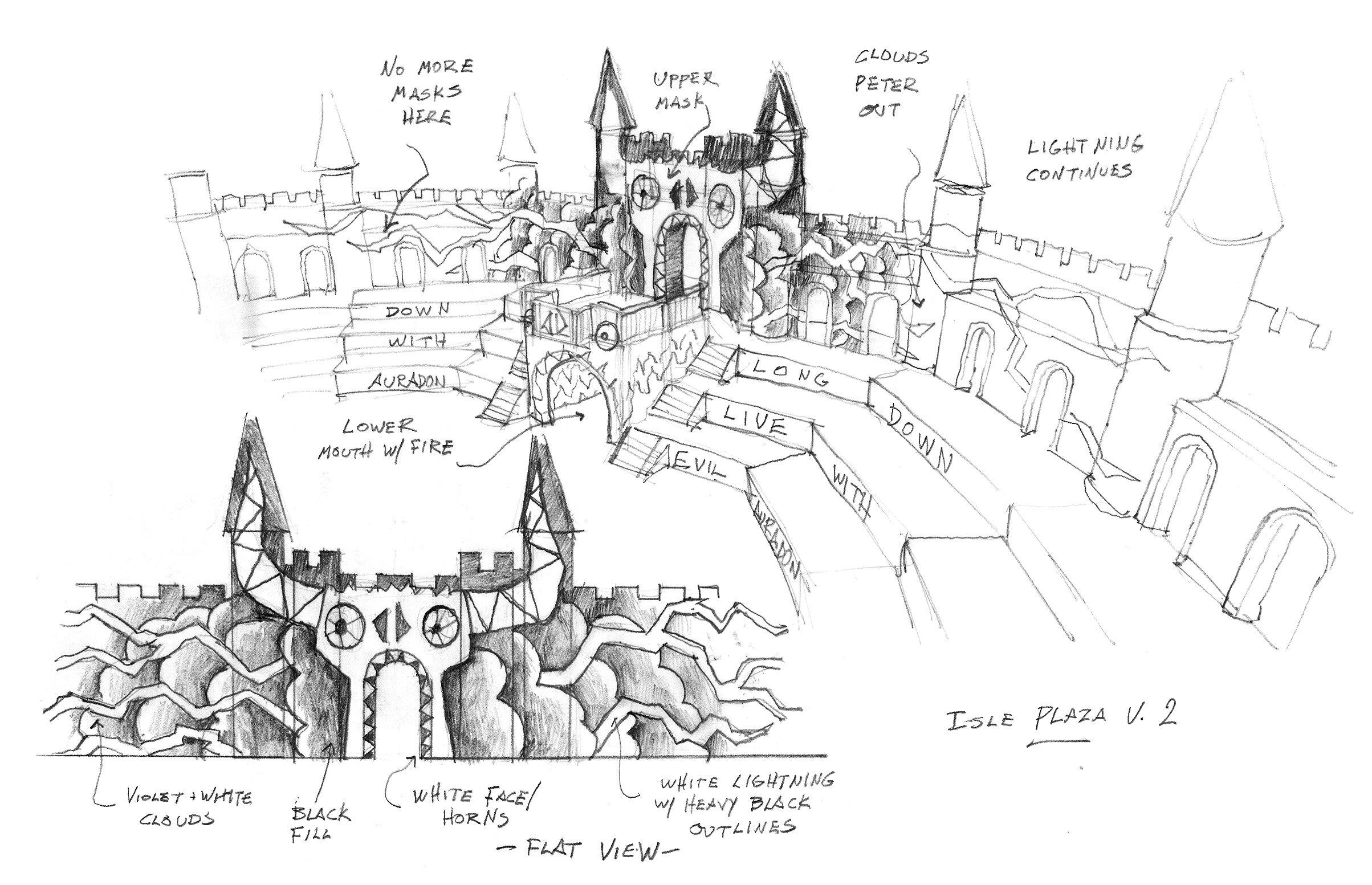 In Disney's Descendants 3, the villains imprisoned on the Isle of the Lost have vandalized their end of a ruined bridge to the mainland to send a signal to their captors across the bay. This sketch showed my paint department my concept for how to vandalize that set.
