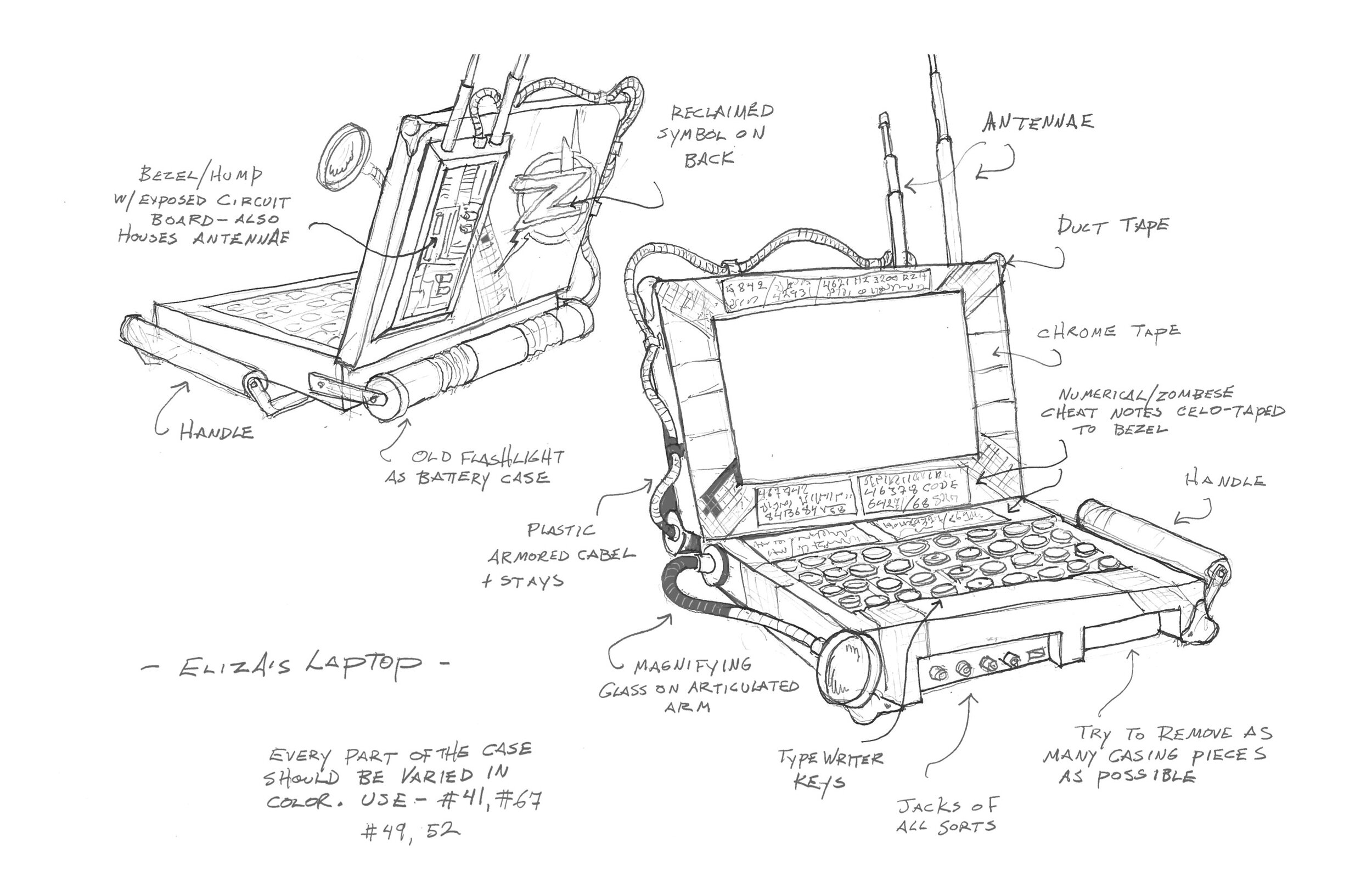 The zombies in Disney's Z-O-M-B-I-E-S  make do with what little they have. The Brilliant Eliza (Kylee Russell) has cobbled together mid-20th-century dead-tech to make a functional, modern laptop. This is my drawing for that prop.