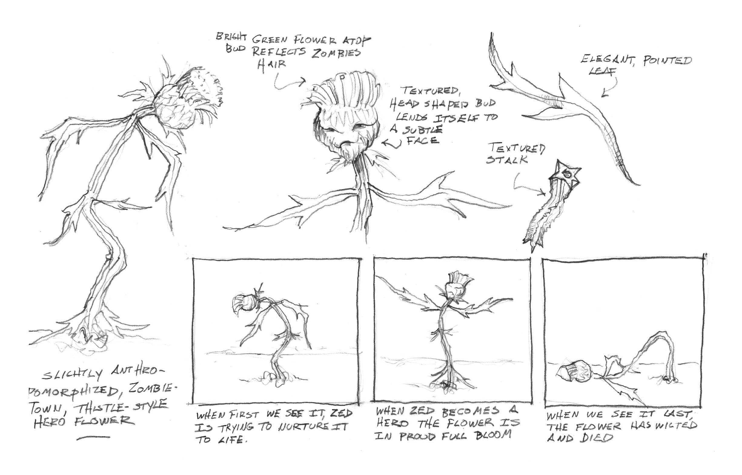 In Disney's Z-O-M-B-I-E-S, zombies living in segregated Zombietown live a subsistence life. There are no public services including electricity or water. But one little zombie flower struggles to make it, just like the zombie underclass. This is my design sketch/storyboard for the story-beats of our silent little hero.