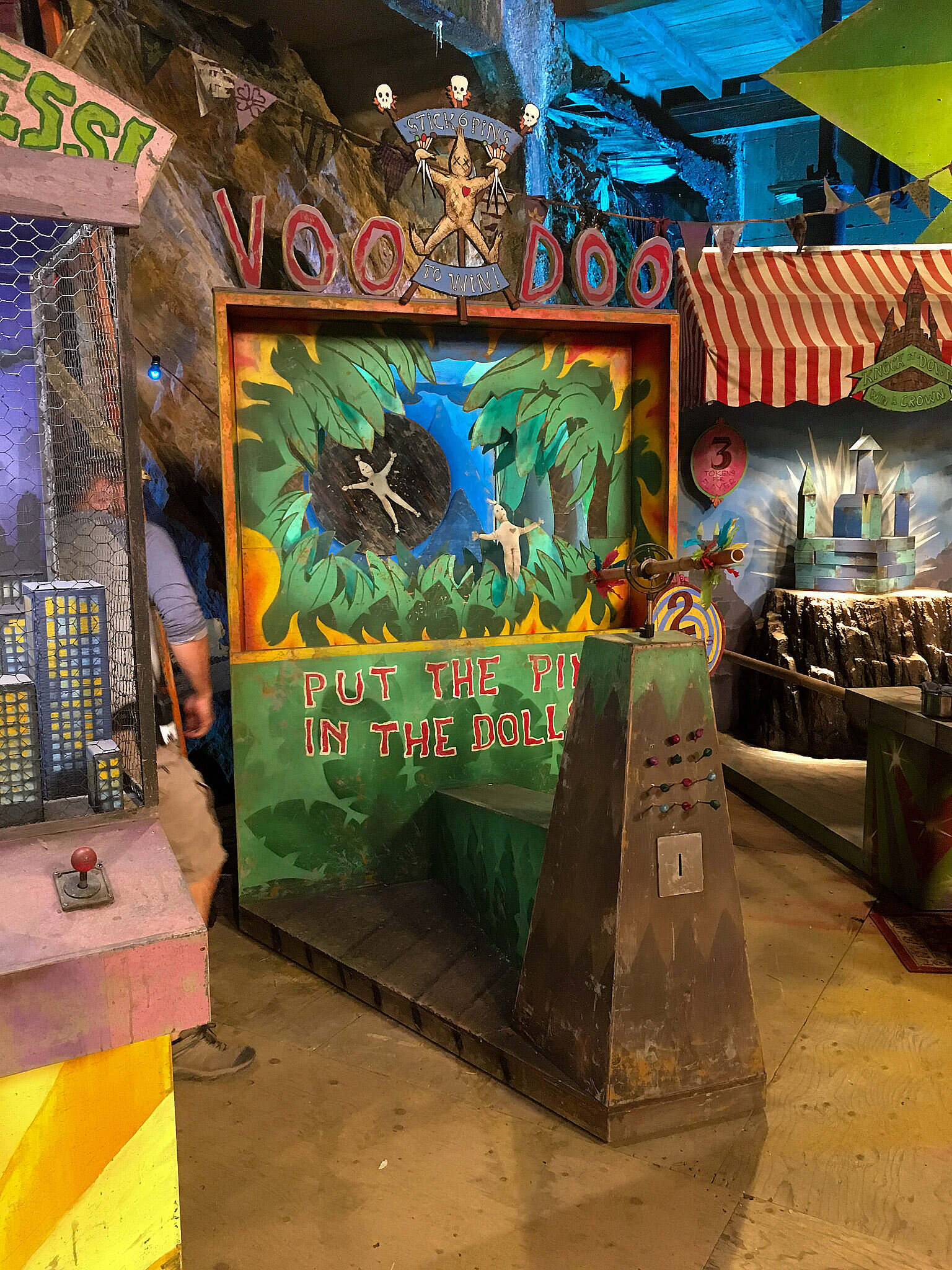 And here's the Voodoo game aged and ready to go on set In Dr. Facilier's Voodoo arcade.
