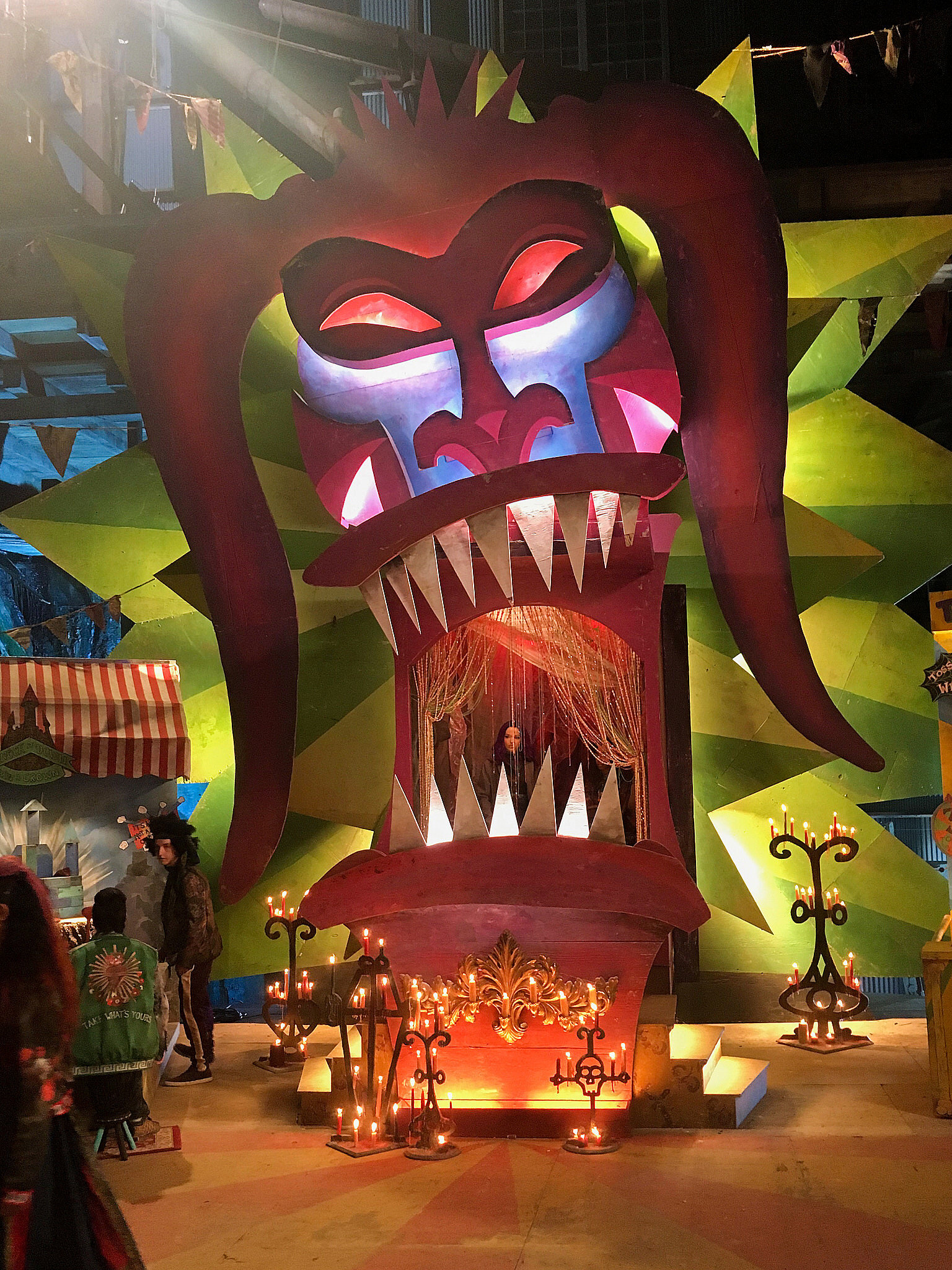 A photo of the completed mask/entrance to Dr. Facilier's arcade on the Isle of the Lost.