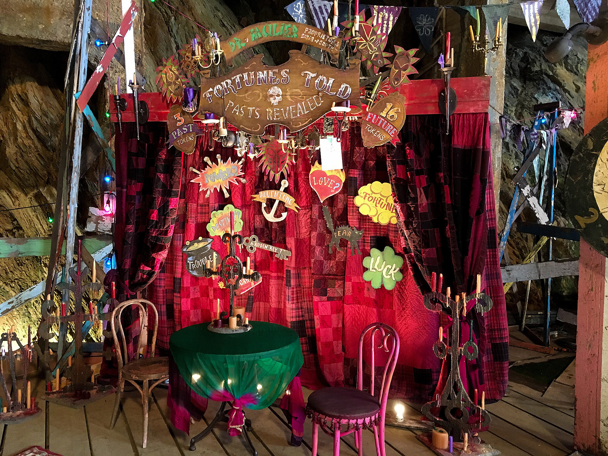 And here's the finished fortune-telling booth on set.