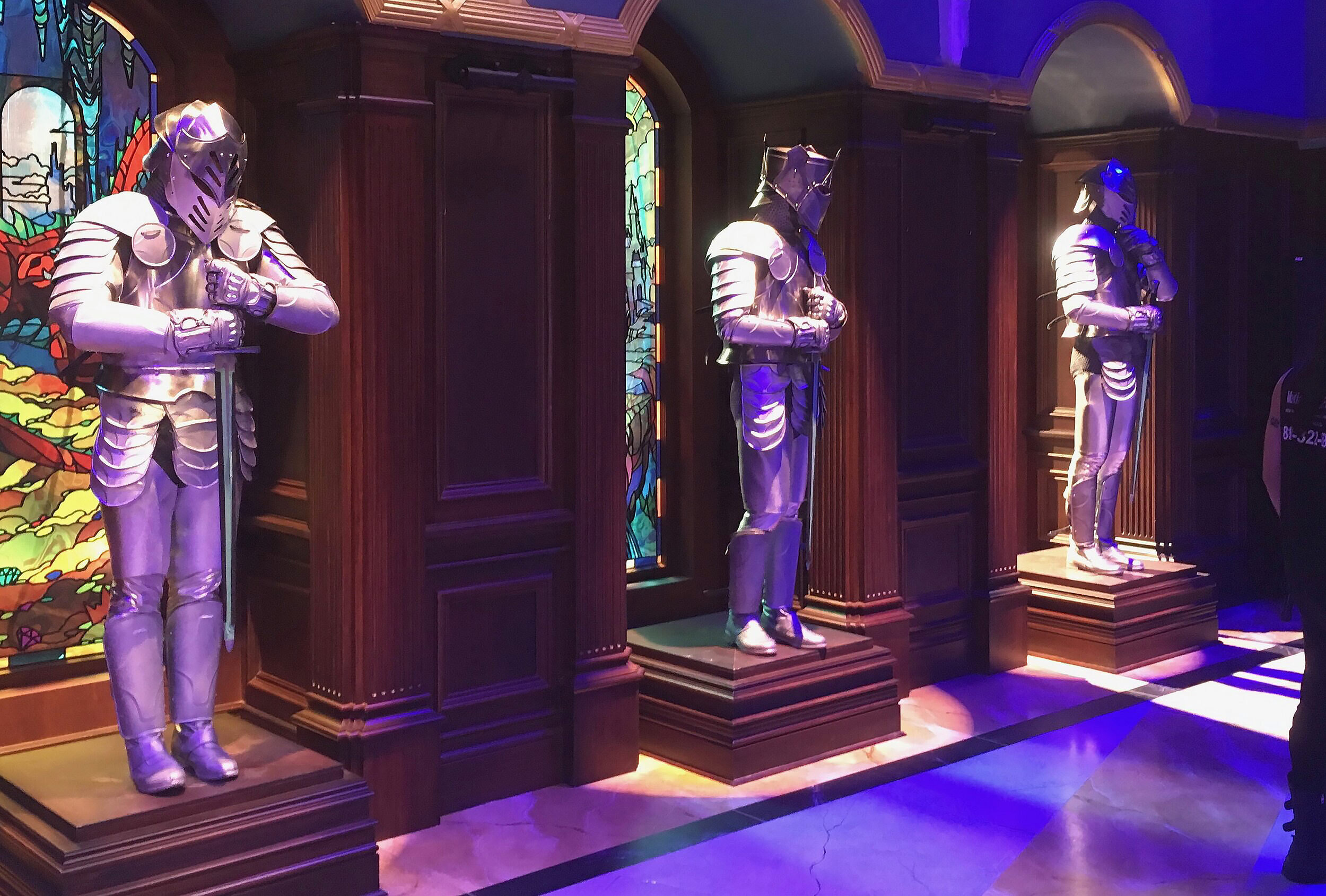 Here three suits of armor/dancers wait to be summoned to life by the newly evil enchantress Audrey (Sarah Jeffrey).