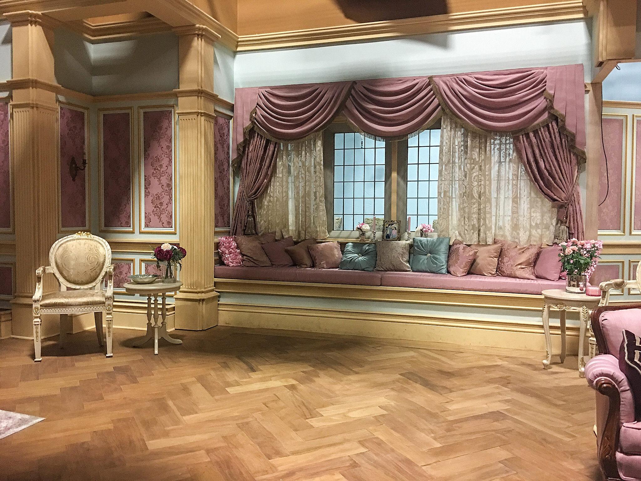 The window seat in Audrey's bedroom set.