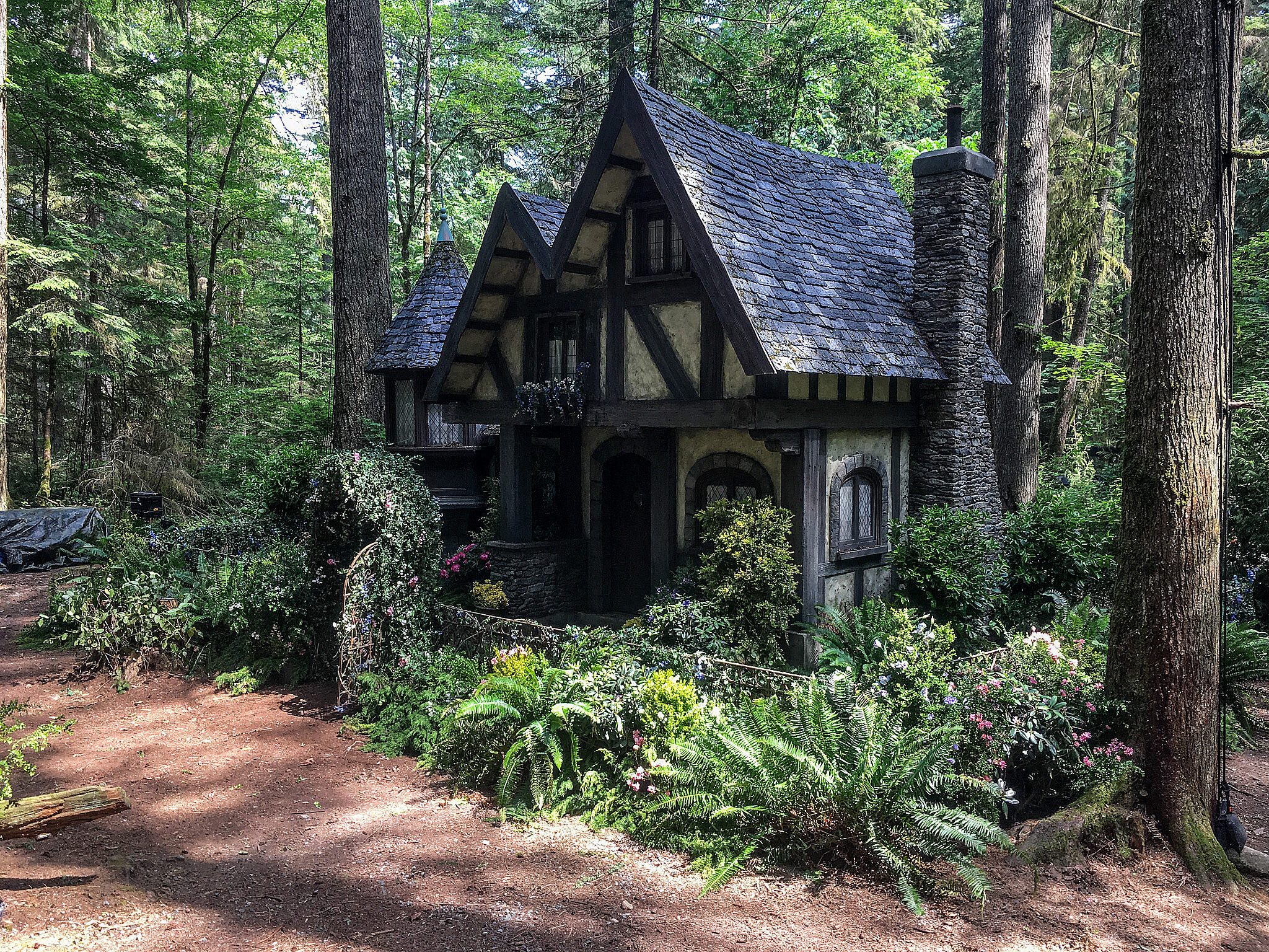 Our anti-hero Audrey (Sarah Jeffrey) retreats to this remote fairy cottage that was once the secret refuge of her teen mother, Sleeping Beauty. We built this humble Bavarian-style cottage in a practical forest.