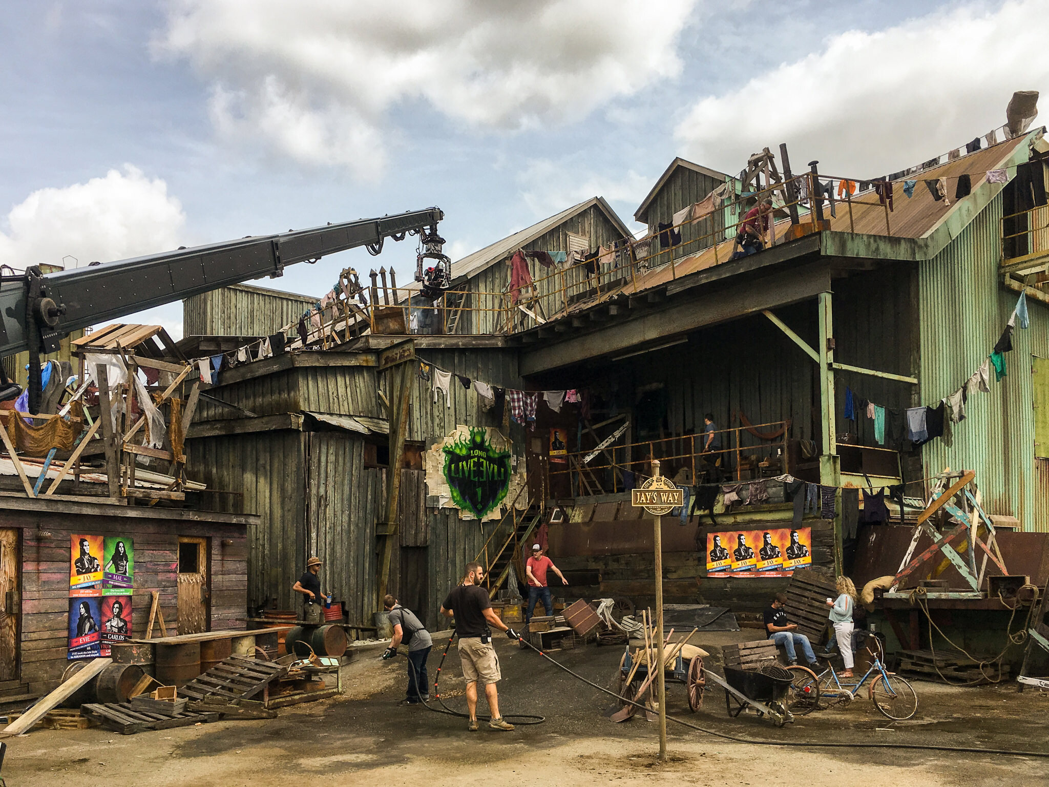 The Isle of the Lost is the Alcatraz-like prison island where all the classic Disney villains, their children and their hench-people live. Descendants 3 opens on this set, where the children of the Isle learn they've been granted a chance to go to school in Auradon.