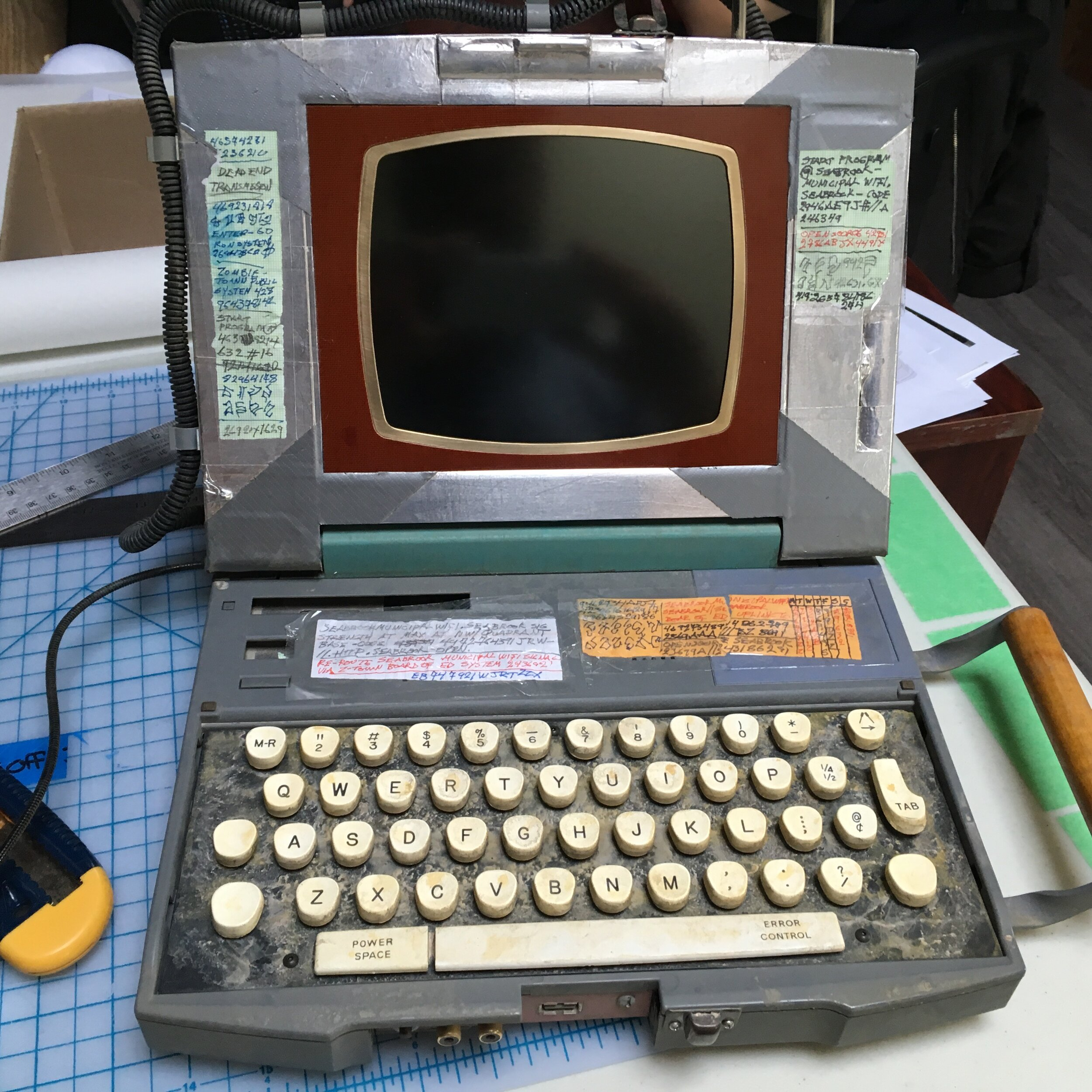A photo of Eliza's (Kylee Russell) finished dead-tech laptop for Disney's Z-O-M-B-I-E-S.
