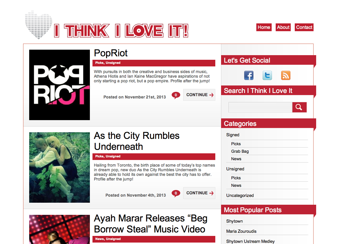 PopRiot Music Group featured on I Think I Love it