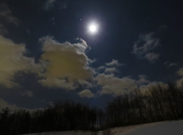 Patricia Lane Evans  submitted this photo to EarthSky of the moon and Jupiter on March 2, 2015.