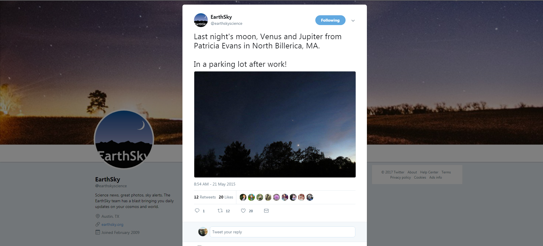 EarthSky ‏ @ earthskyscience     21 May 2015   Last night's moon, Venus and Jupiter from Patricia Evans in North Billerica, MA. In a parking lot after work!  https://twitter.com/earthskyscience/status/601370529682063361