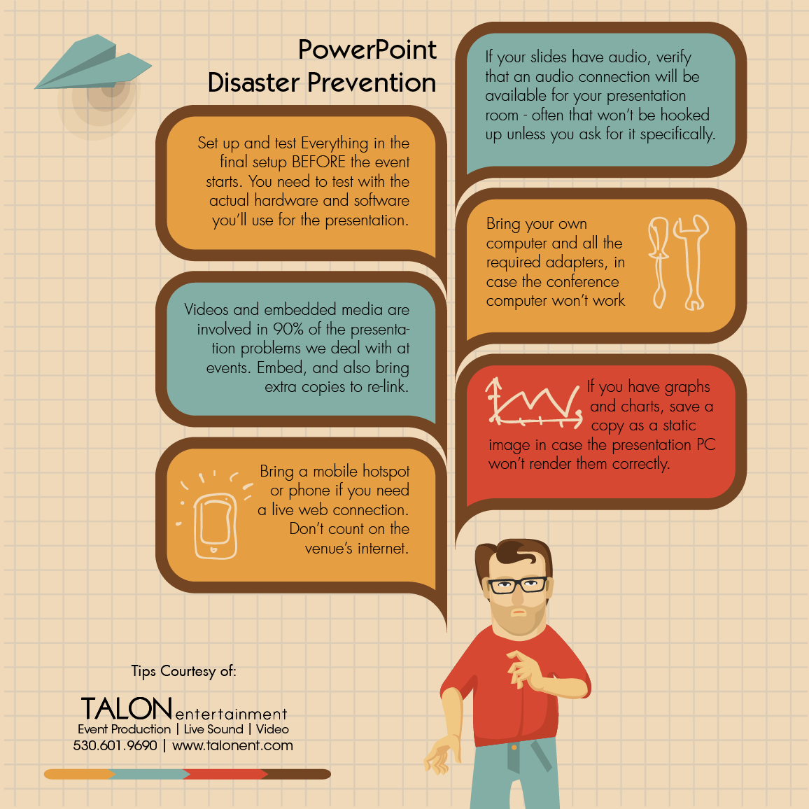 Our top tips for avoiding powerpoint disaster. Embedded media is the root of about 90% of the problems we encounter in the field, so make sure you bring backup copies of any embedded files. And Test Test Test, before you leave, and before you present.