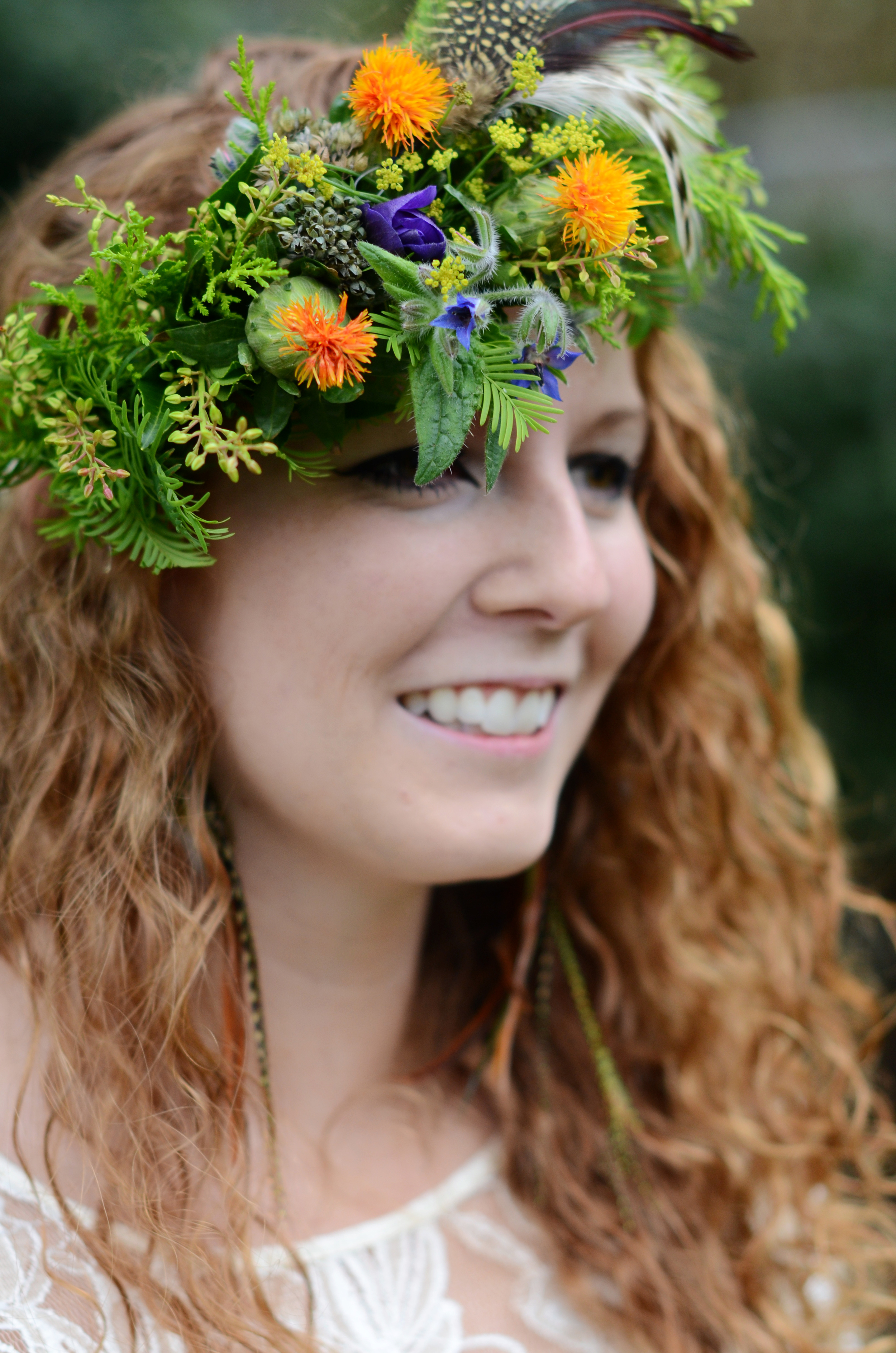 Flower crown by Fraser Valley wedding florist, Floral Design by Lili in  Abbotsford, B.C. Image by Acacia Ann Photography