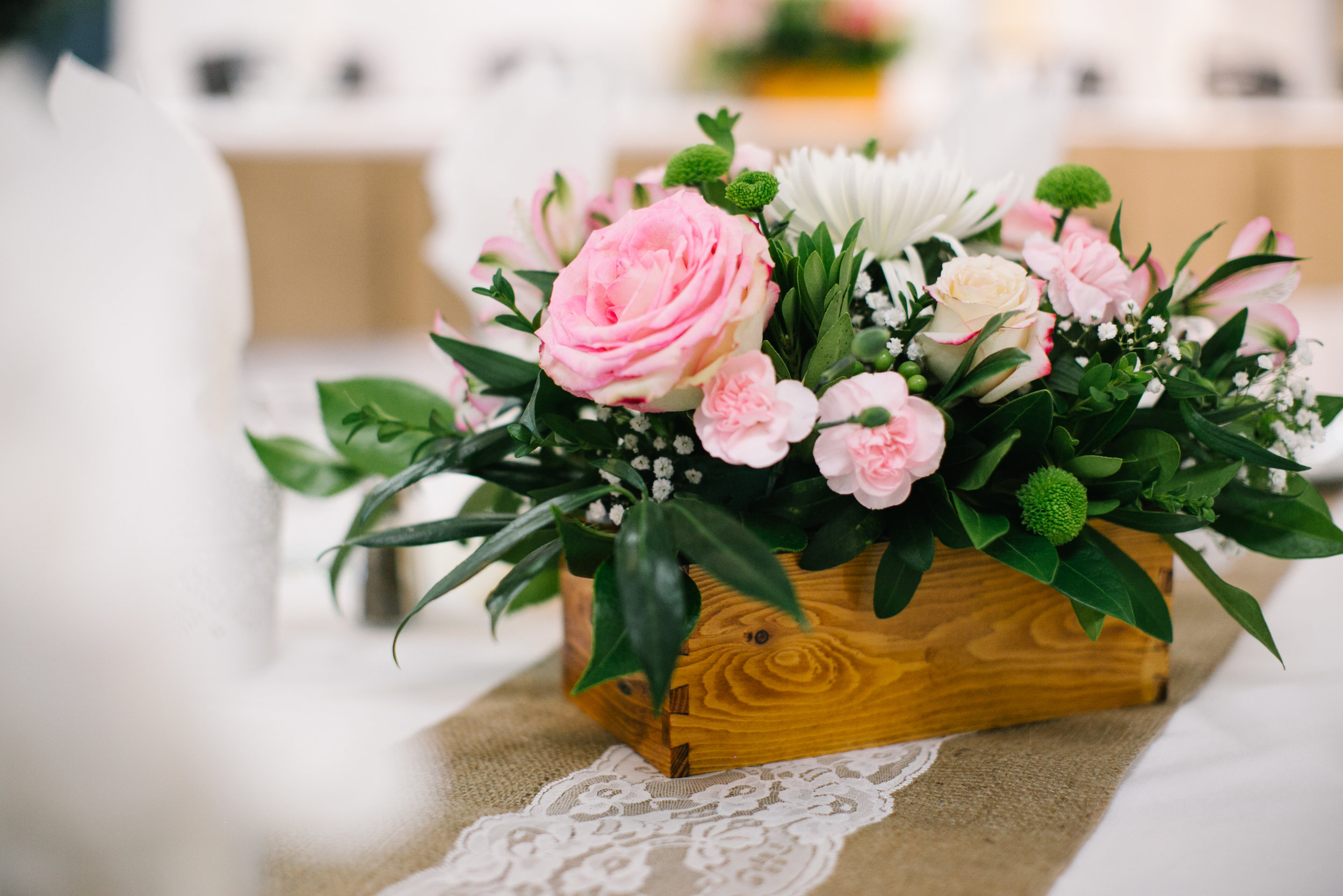Wedding centrepiece by Floral design by Lili, Abbotsford wedding florist.