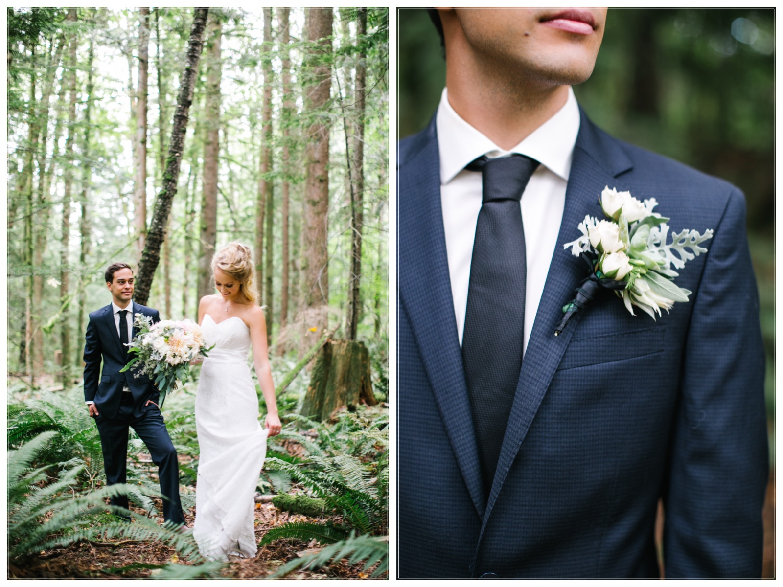Bride with groom and groom's man boutonniere , by Floral design by lili , Abbotsford wedding florist.