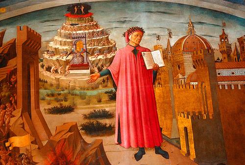 Dante, avistado aqui a relaxar no cenário da composição da Comédia.