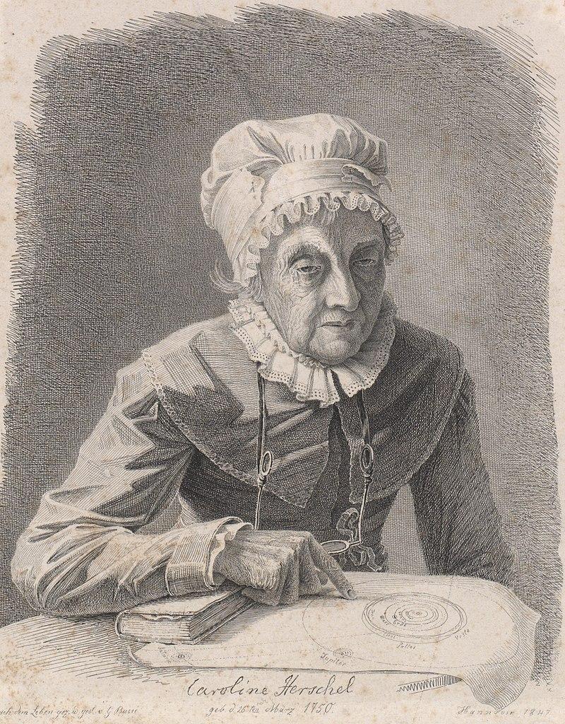 Litografia de 1847. Caroline Herschel com mais ou menos 97 anos de idade.