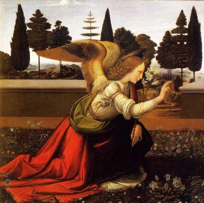 Da Vinci, Anunciação, pormenor.