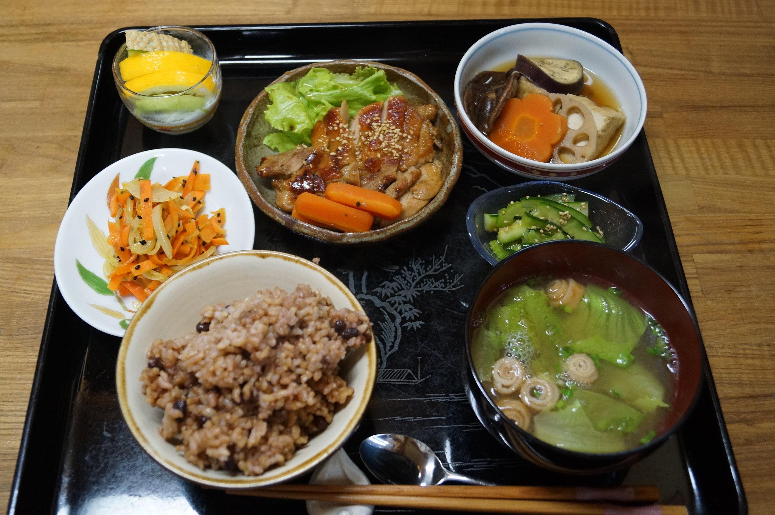 A seasonal, traditional Okinawan meal served. Photo credit: Yui Clinic