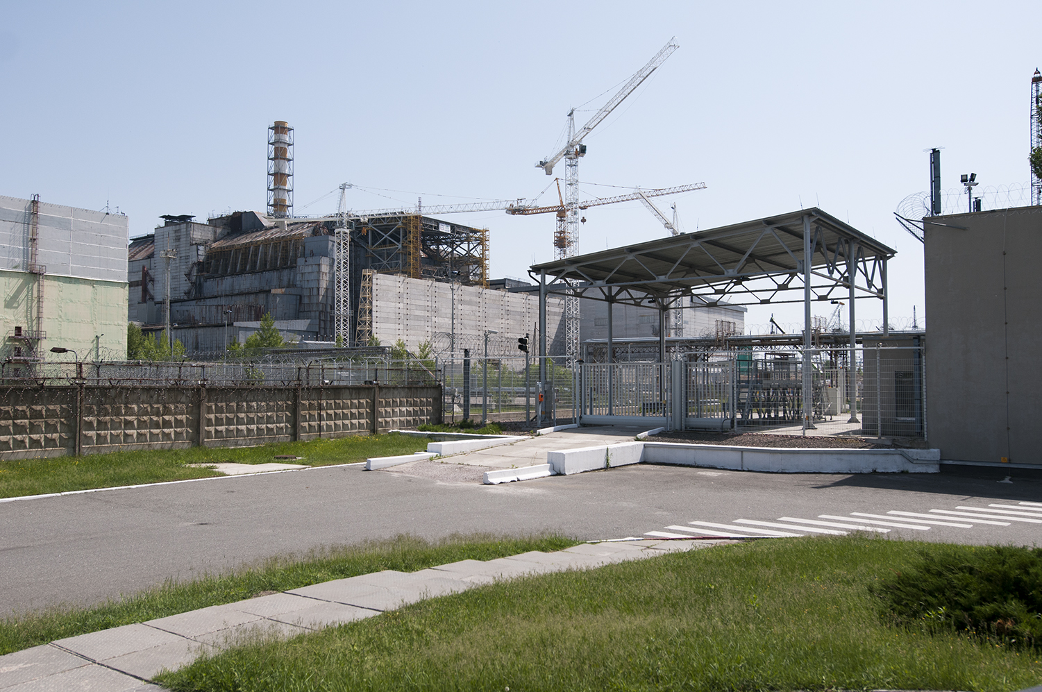 Entrance to the construction site  of the future sarcophagus for the reactor number 4
