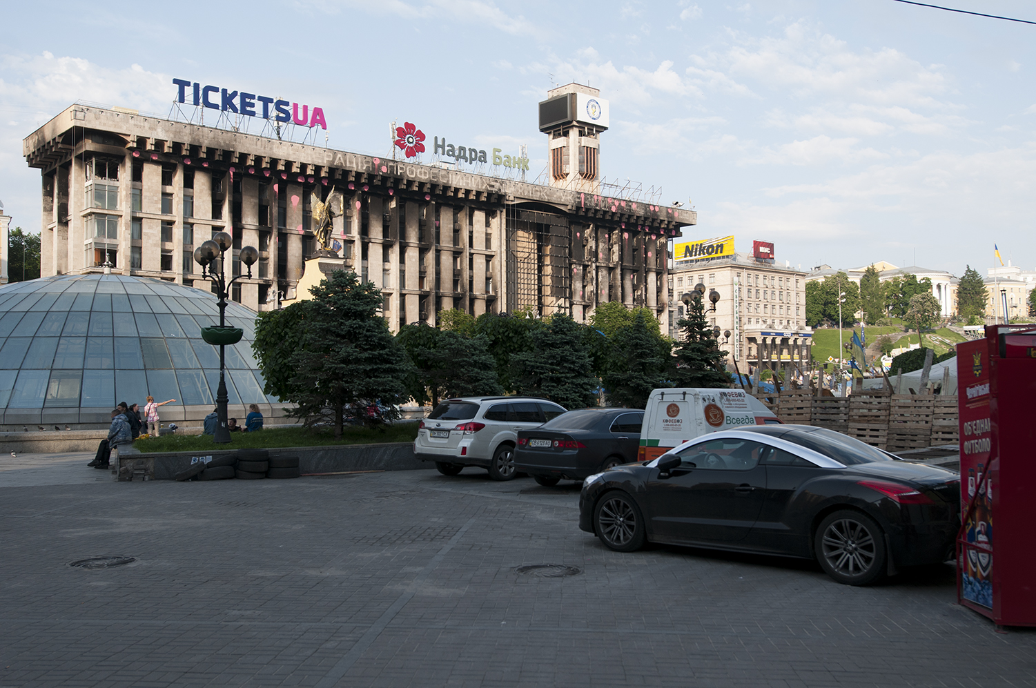 Cars parked on Maidan Square