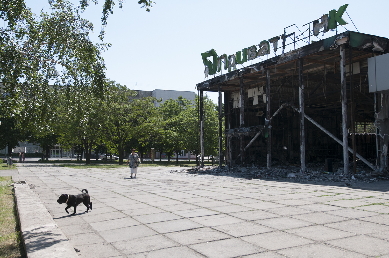 Remains of the PrivatBank building which was lit on fire by pro-russian militants on the 3 May 2014
