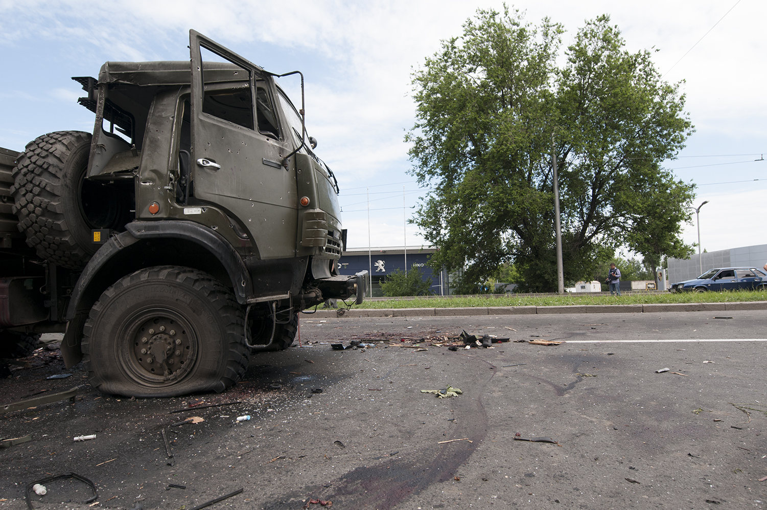 Blood stains next to a truck belonging to the Donetsk people's Republic Army