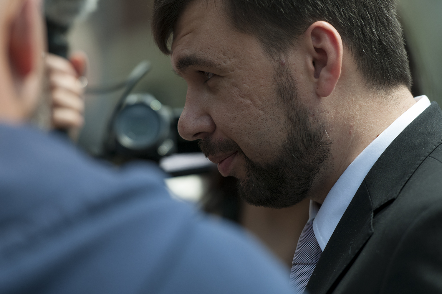 Denis Pushilin, chair man of the Donetsk People's Republic, giving interviews to international medias