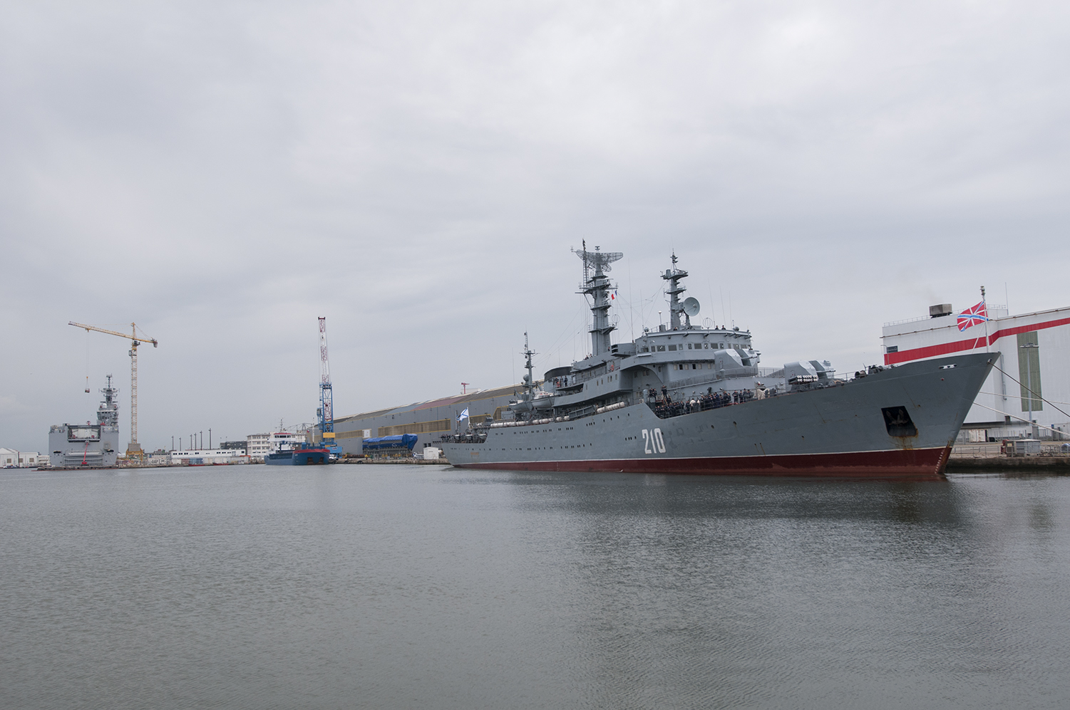The Smolny and the Vladivostock docked in the port of Saint Nazaire, France.