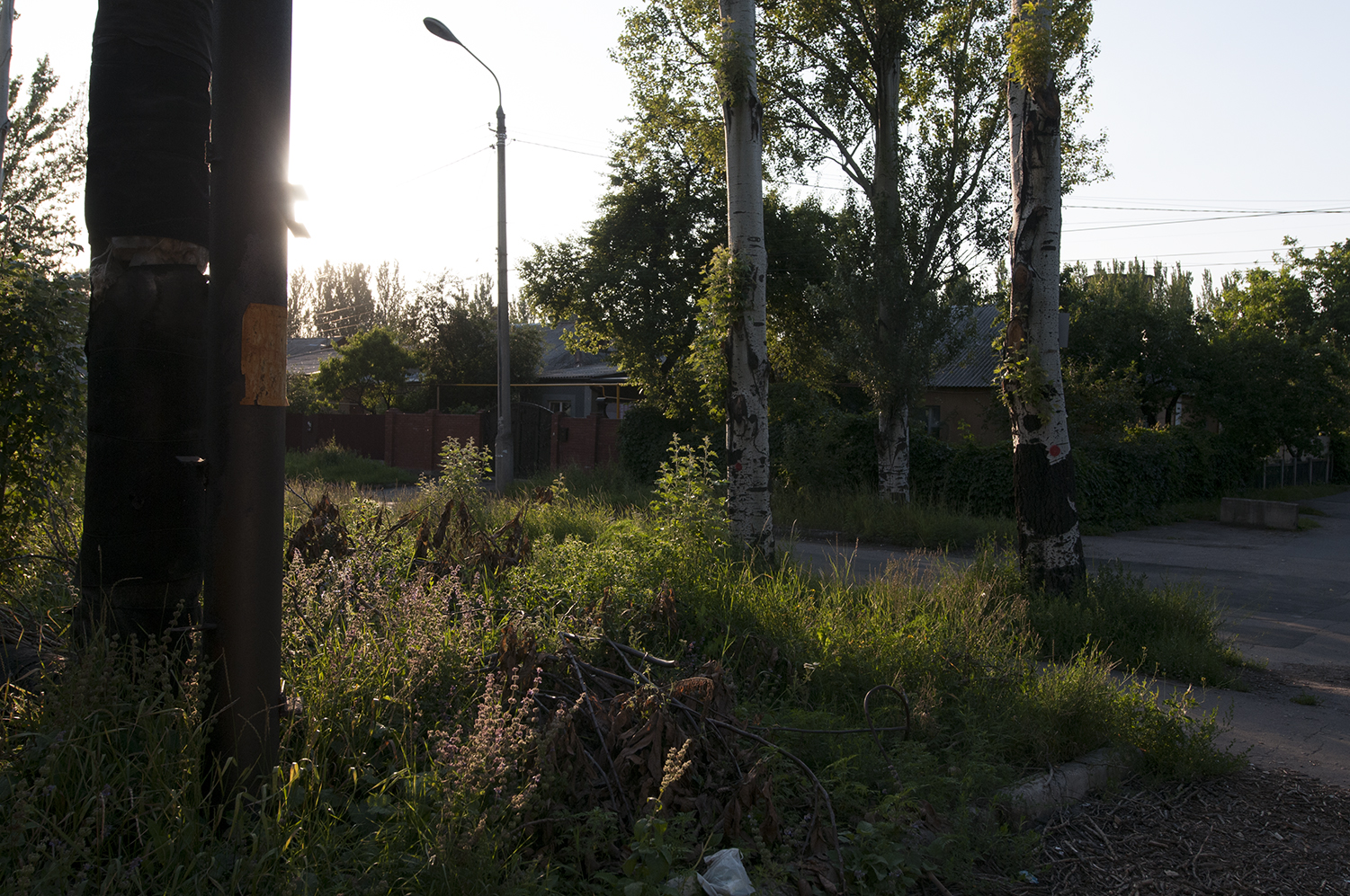 Sunset on the neighbourhood located on the south edge of Donetsk Airport
