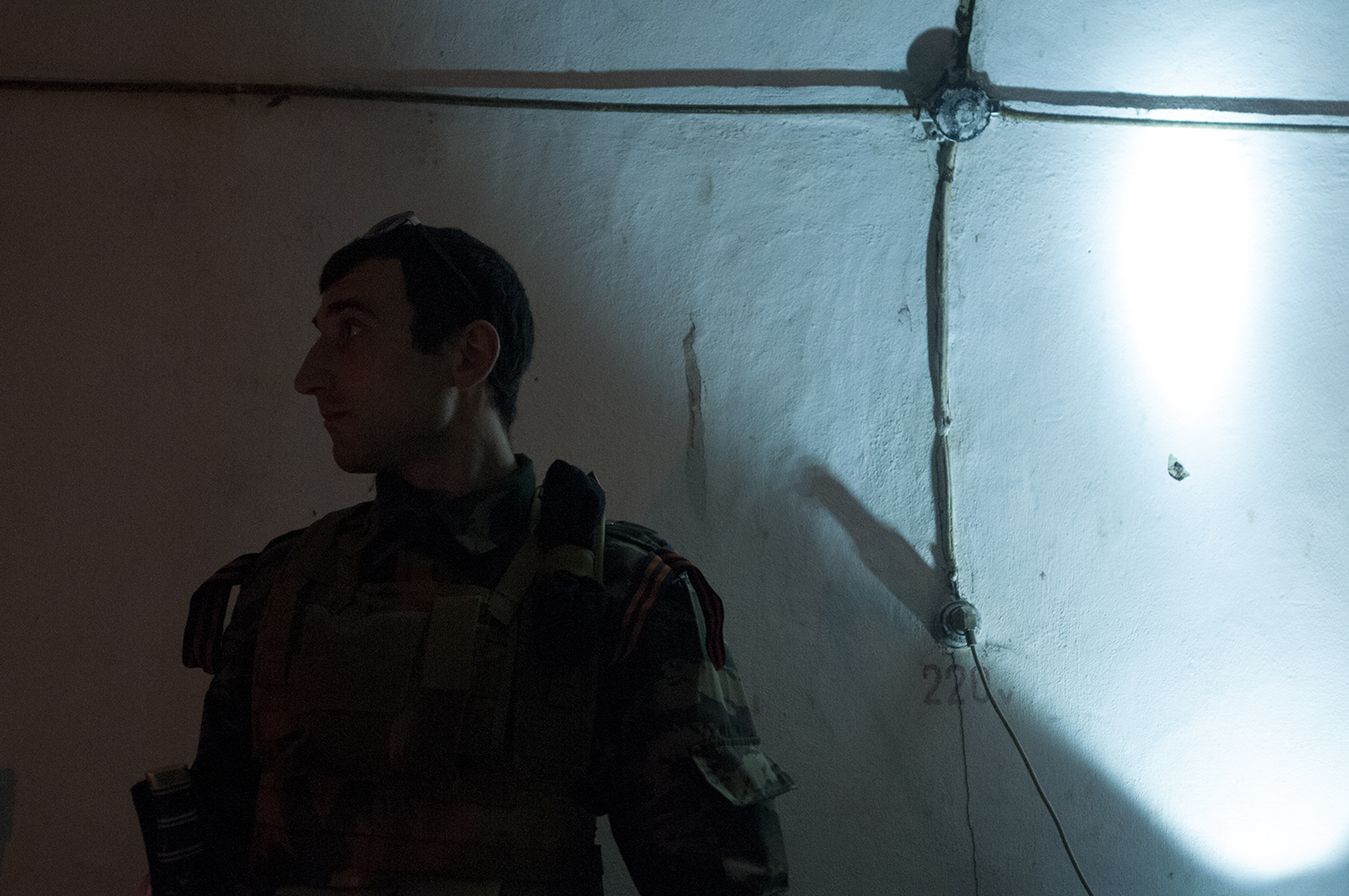 A member of the Donetsk People Republic in a bomb shelter made during the cold war near Marlinka