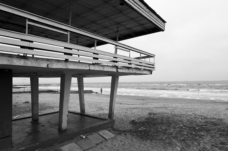 Woman walking along side the Black Sea