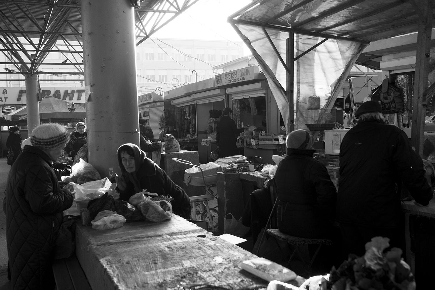 Babushka buying her food in Bender open market