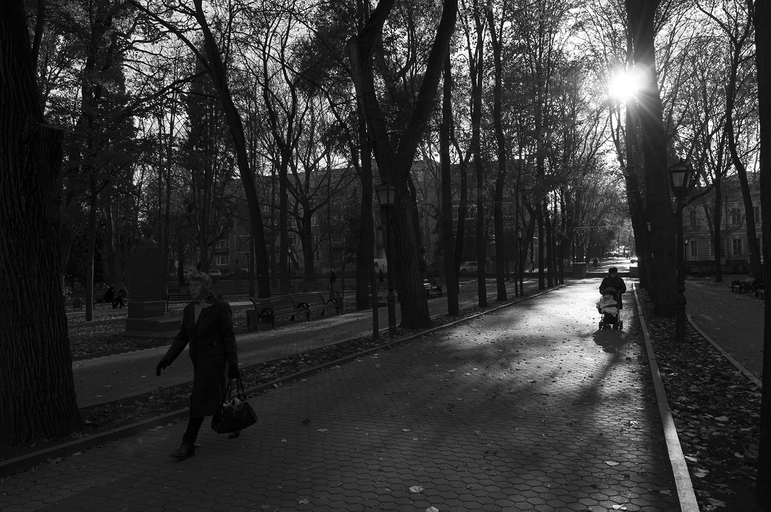 Woman pushing a stroller a the end of a cold winter day