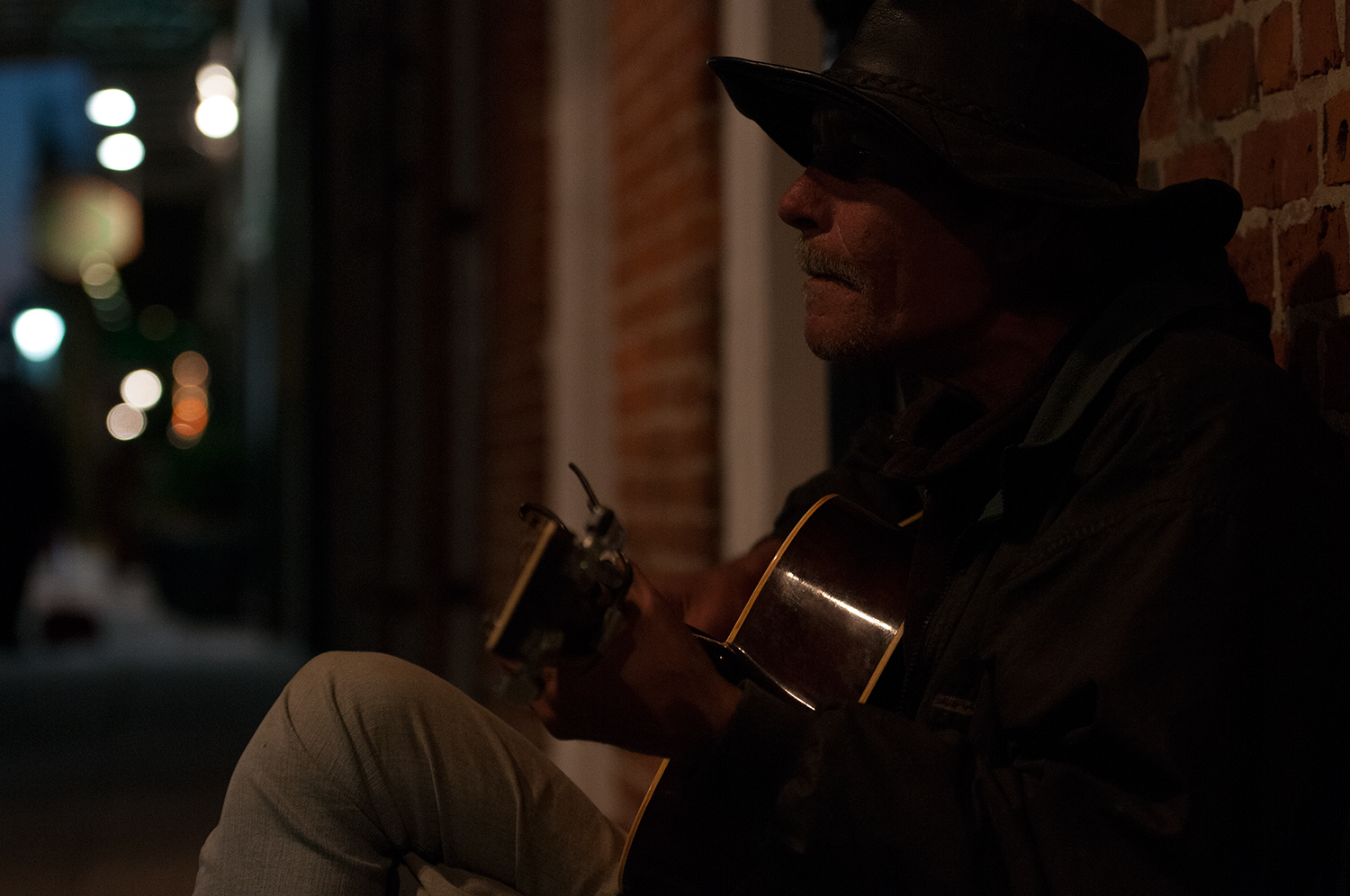 Jacob playing guitar in the middle of the night.