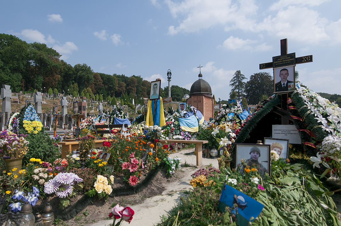 Graves of Ukrainians soldiers who died while fighting in Eastern Ukraine.