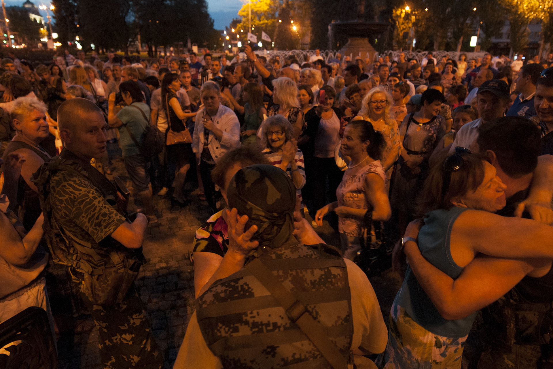 Women meeting with the pro-russian soldiers at a party thrown in their honor