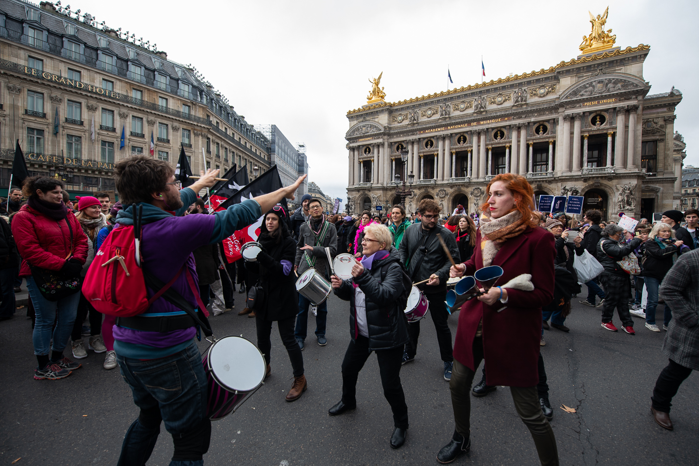 Marching band in front of the Opera Garnier at the beginning of the Nous Toutes march.