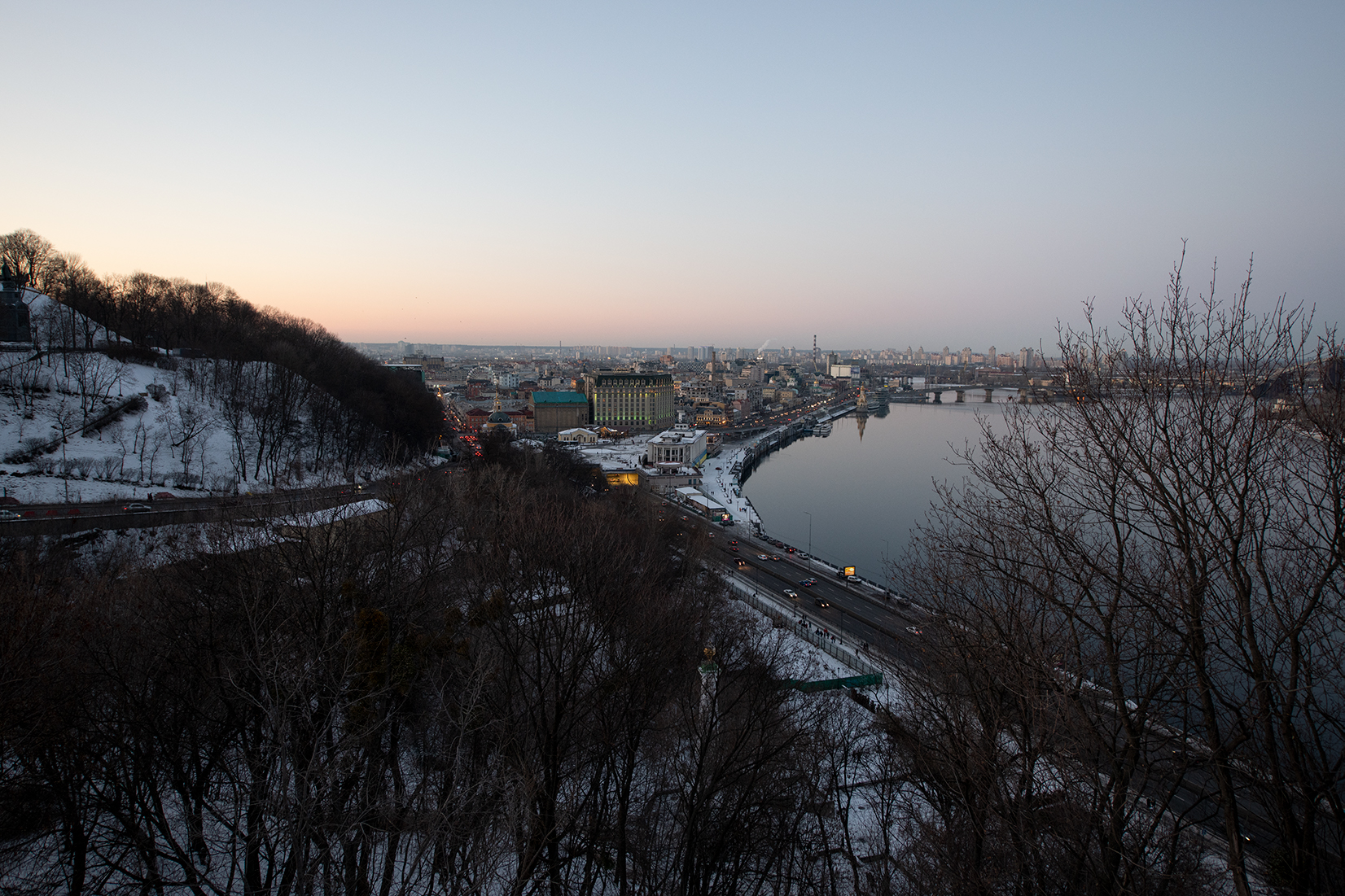 View on Podil from the Friendship of Nations Arch